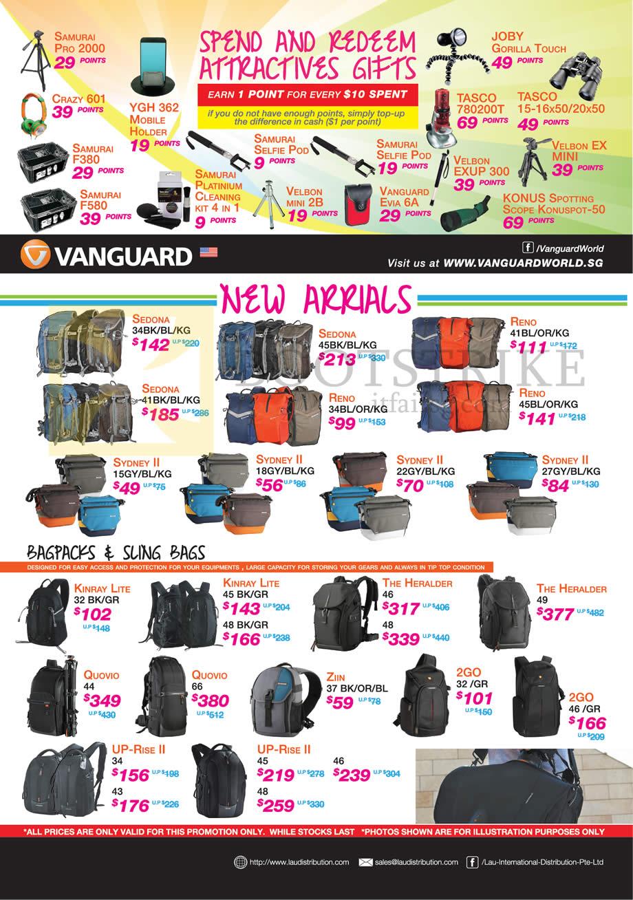 SITEX 2014 price list image brochure of Lau Intl Vanguard Bags, Bagpacks, Sling Bags, Spend N Redeem