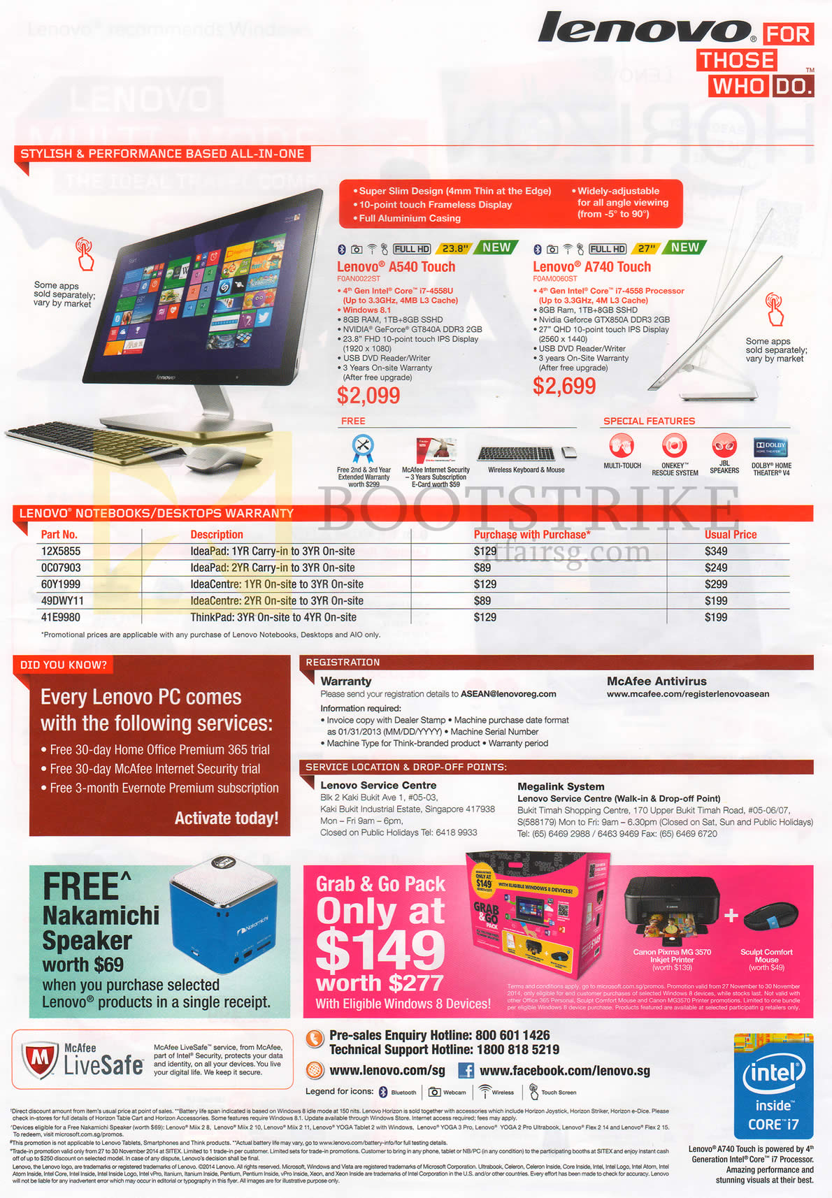 SITEX 2014 price list image brochure of Lenovo AIO Desktop PCs A540 Touch, A740 Touch
