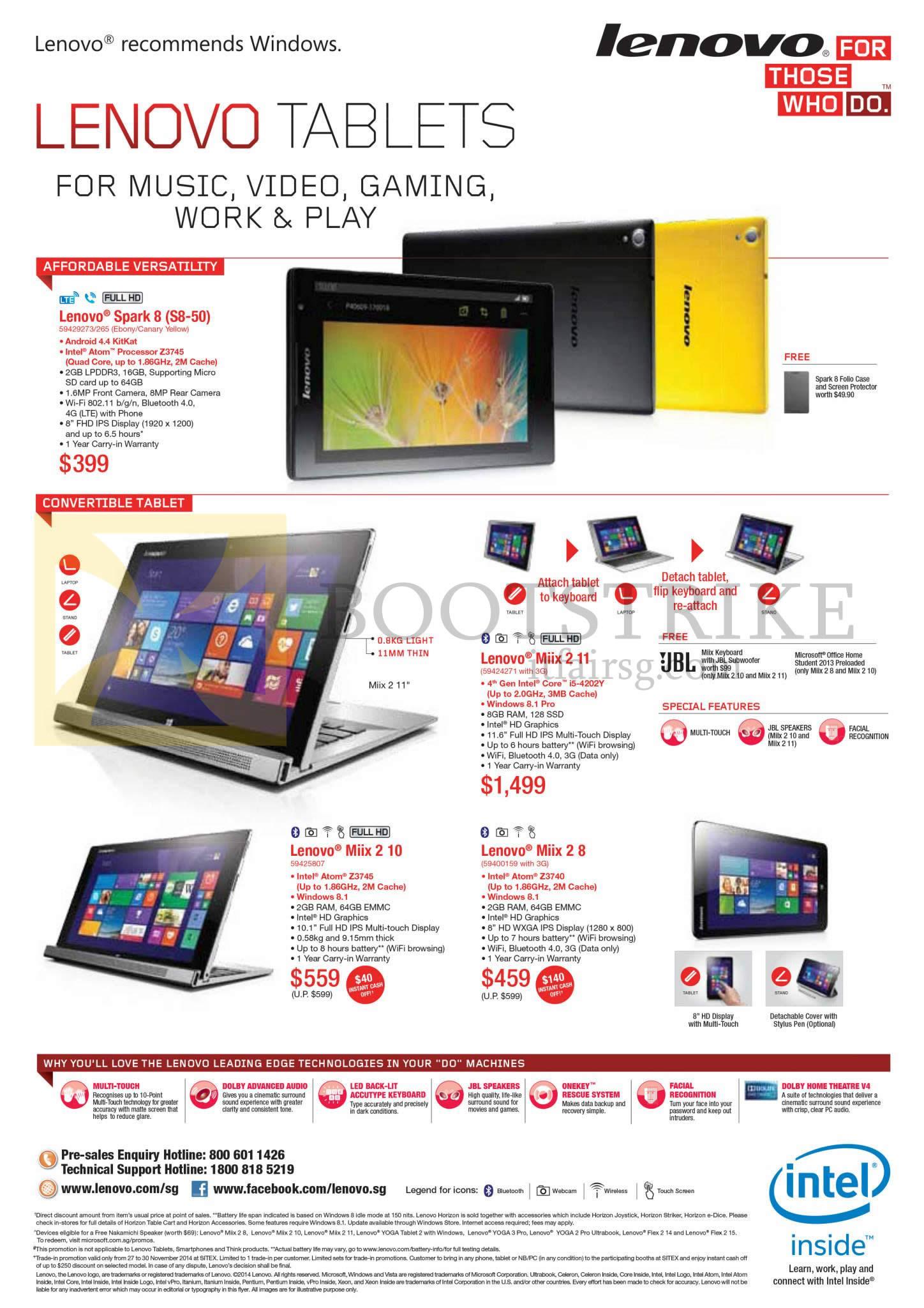 Lenovo tablets spark 8 miix 2 11 miix 2 10 miix 2 8 for O tablet price list 2014