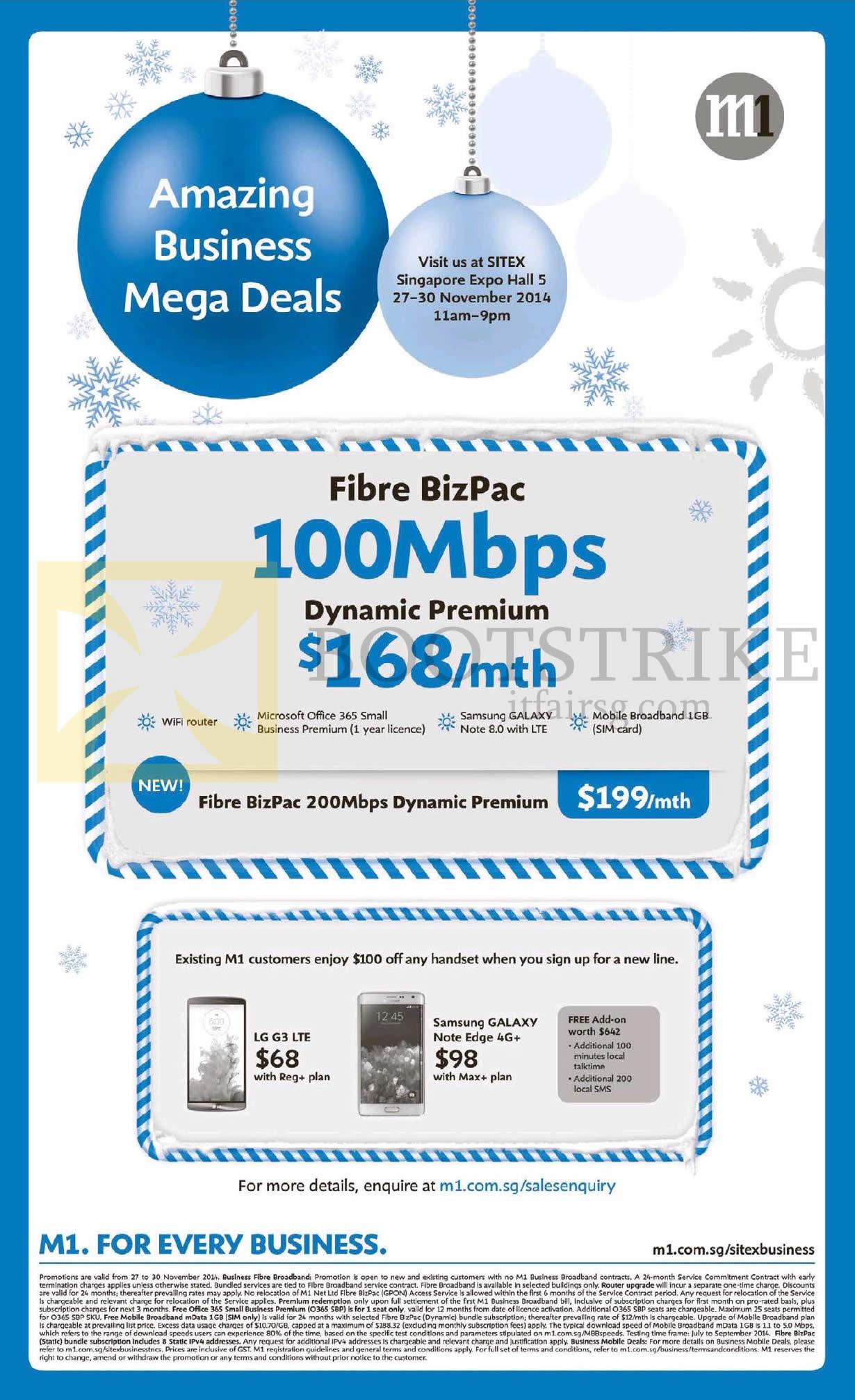 SITEX 2014 price list image brochure of M1 Business Fibre BizPac 100Mbps Dynamic Premium, LG G3, Samsung Galaxy Note Edge