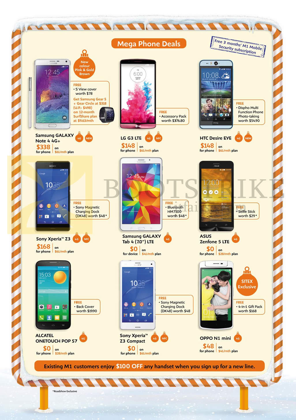 SITEX 2014 price list image brochure of M1 Mobile Samsung Galaxy Note 4, Tab 4 7.0, LG G3, HTC Desire Eye, Sony Xperia Z3, Xperia Z3 Compact, Asus Zenfone 5, Alcatel Onetouch Pop S7, Oppo N1 Mini
