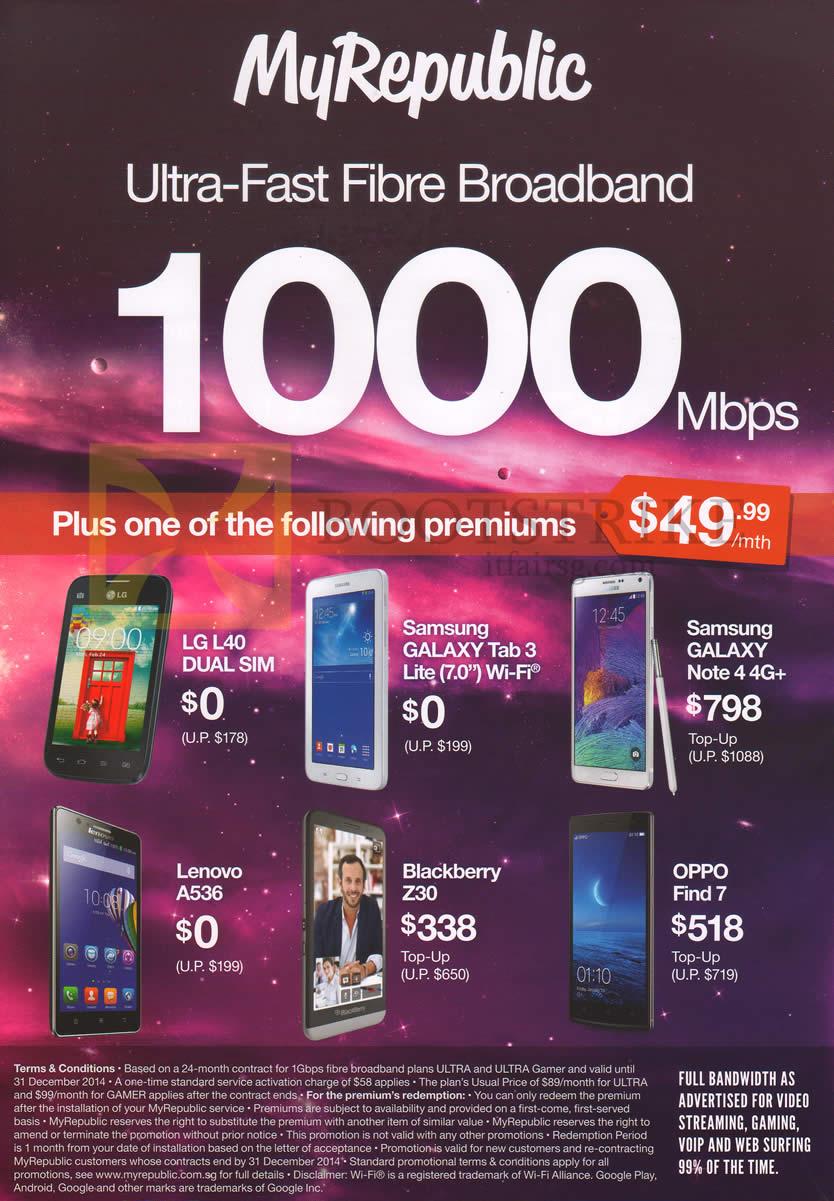 MyRepublic Mobile Phones 1000Mbps Fibre Broadband LG L40