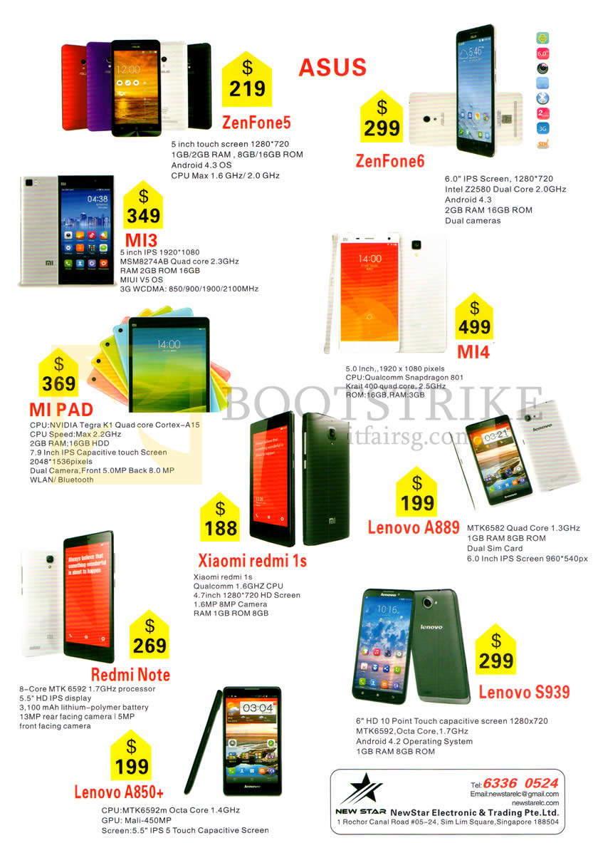 SITEX 2014 price list image brochure of New Star Electronic Asus Zenfone 5, 6, Xiaomi Mi 3, Mi 4, Mi Pad, Xiaomi Redmi 1s, Lenovo A889, S939, A850Plus, Redmi Note