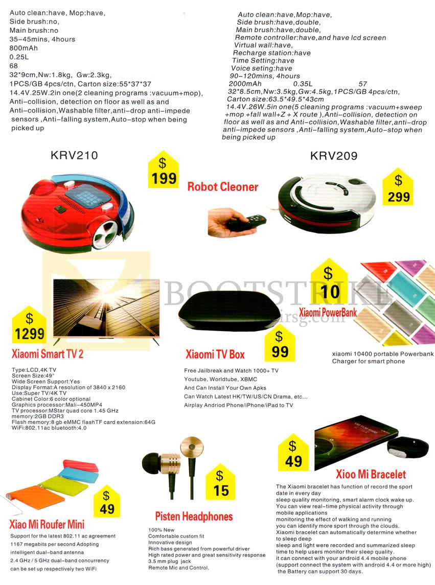 SITEX 2014 price list image brochure of New Star Electronic Robot Cleaners, Xiaomi Smart TV 2, TV Box, Roufer Mini, Bracelet, Pisten Headphones