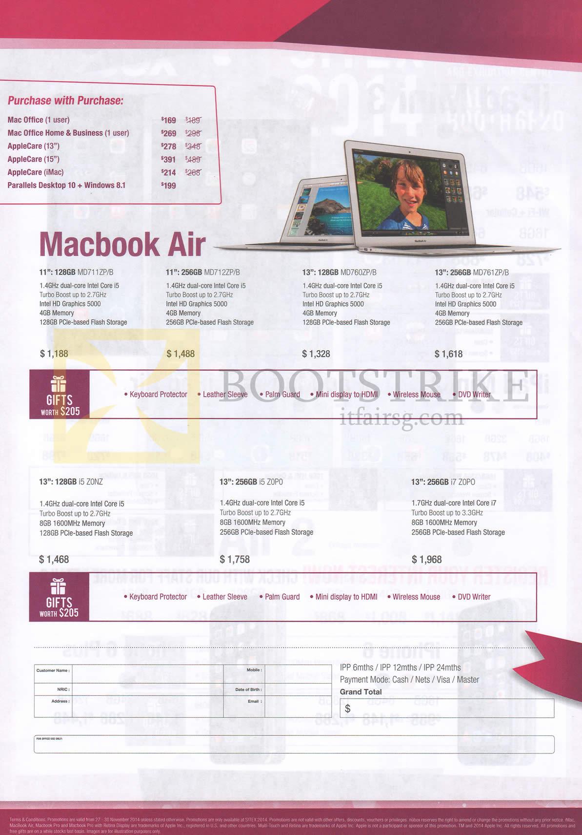 SITEX 2014 price list image brochure of Nubox Macbook Air Notebook 128GB, 256GB