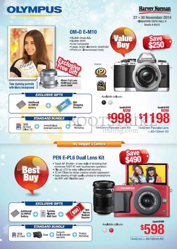 Olympus Digital Cameras OM-D E-M10, PEN E-PL6 Dual Lens Kit