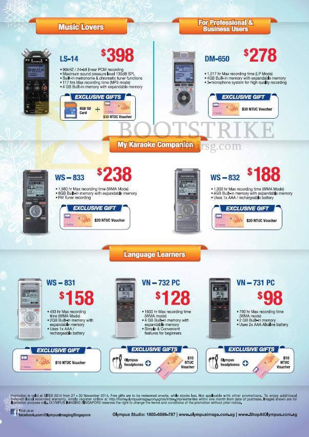 Olympus Voice Recorders Digital LS-14, DM-650, WS-832, WS-833, WS-831, VN-732 PC, VN-731 PC