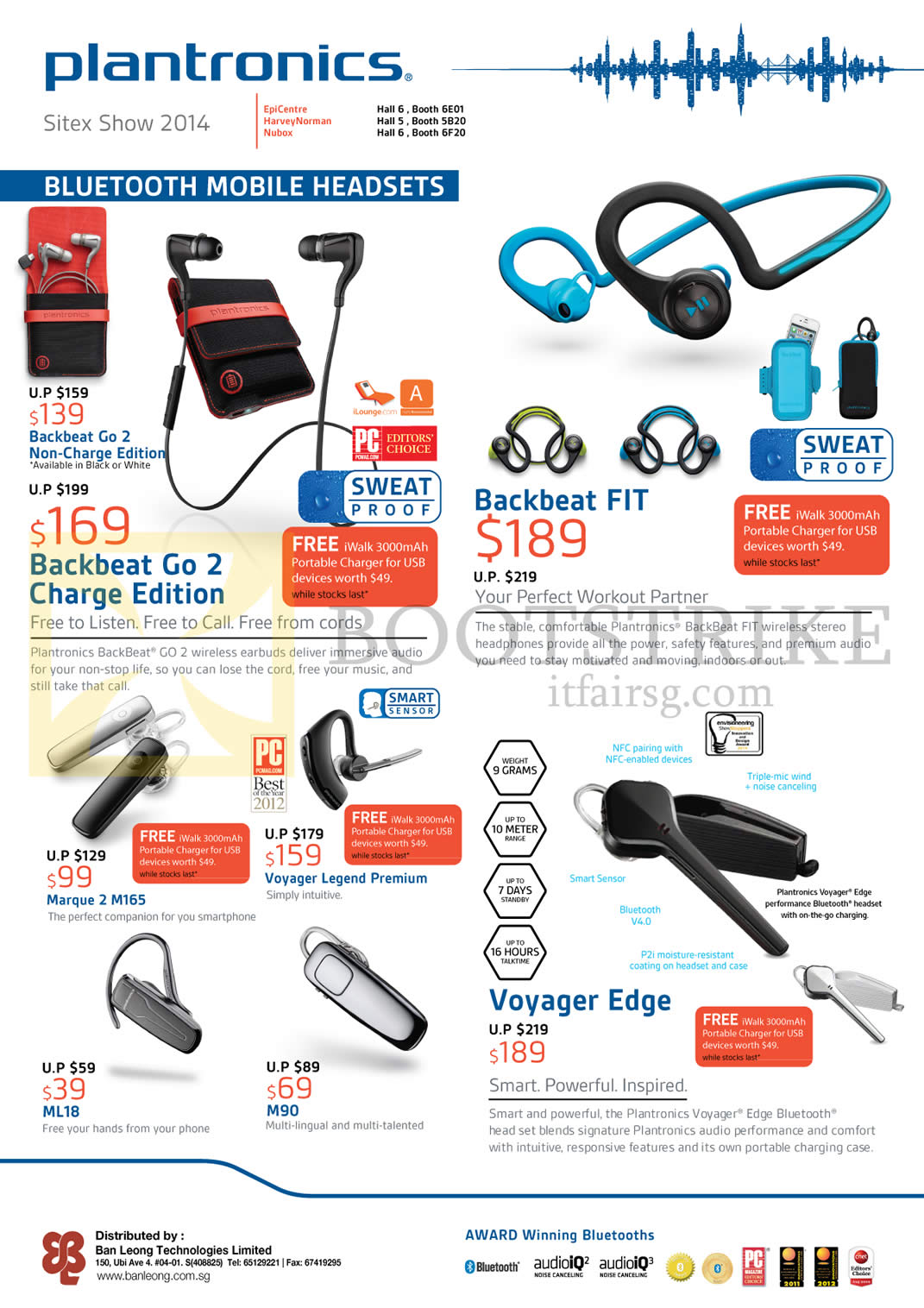 SITEX 2014 price list image brochure of Plantronics Bluetooth Mobile Headsets Backbeat Go 2 Charge, Backbeat Fit, Voyager Edge, Marque 2 M165, ML18, M90, Voyager Legend Premium