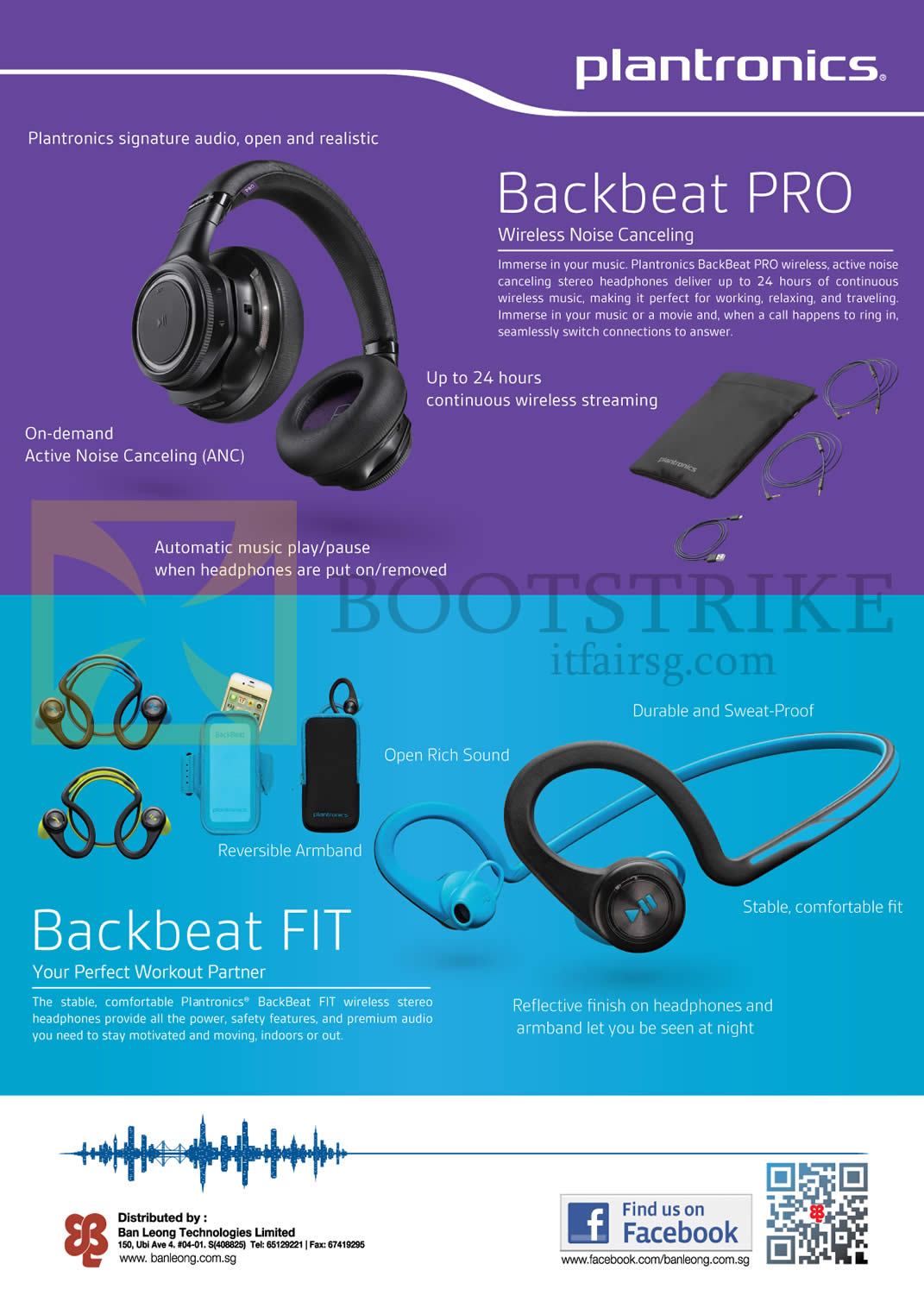 SITEX 2014 price list image brochure of Plantronics Headphones Wireless Backbeat Pro, Backbeat Fit