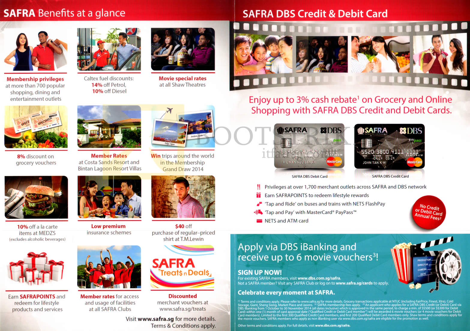 SITEX 2014 price list image brochure of Safra Benefits, DBS Credit, Debit Card Cash Rebates