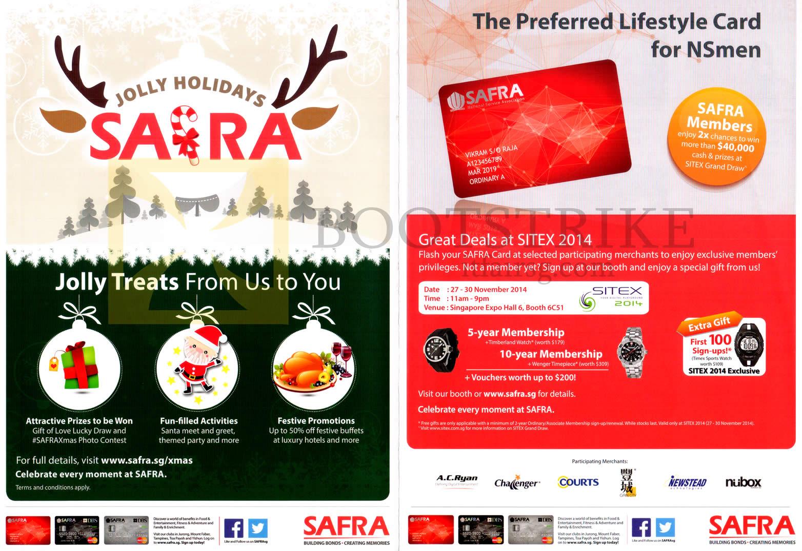 SITEX 2014 price list image brochure of Safra Card Treats, Membership Gifts