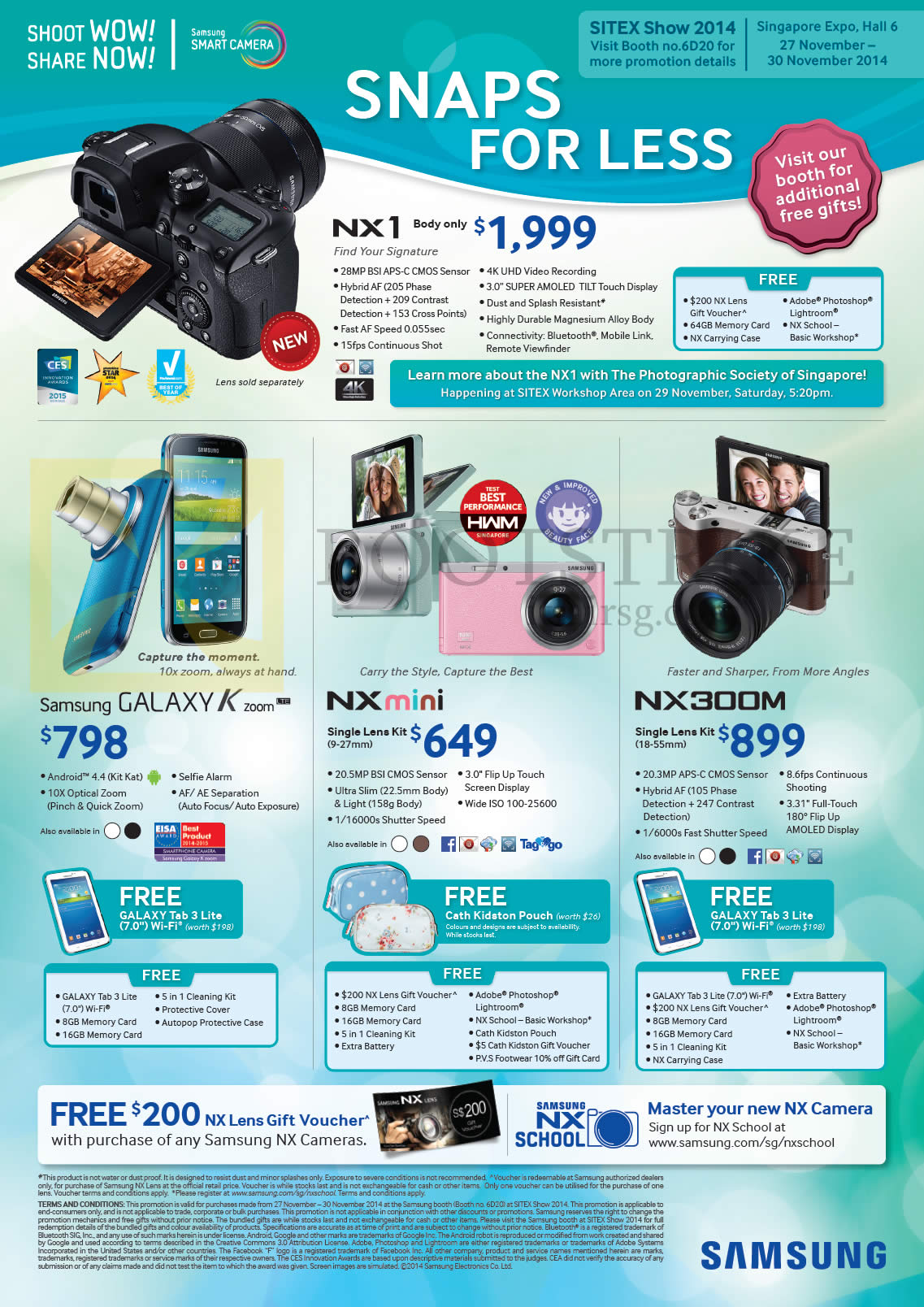 Samsung Digital Cameras NX1, Galaxy K Zoom, NX Mini, NX 300M