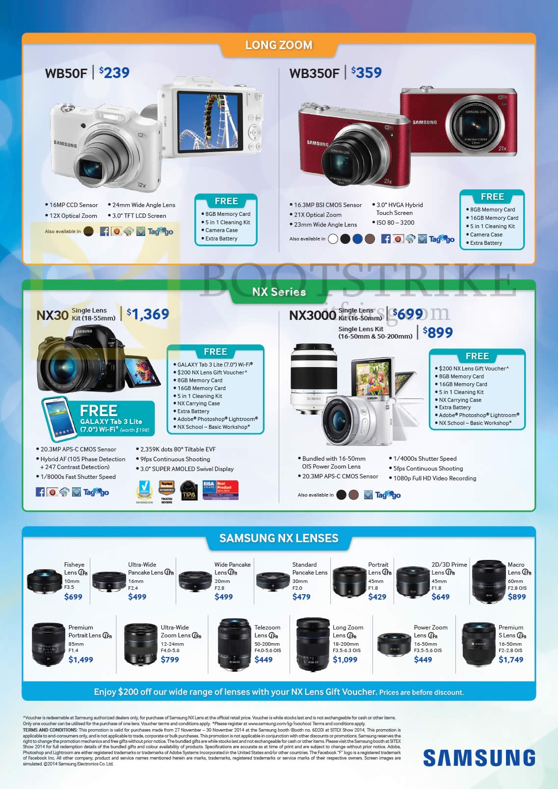 Samsung Digital Cameras WB50F, WB350F, NX30, NX3000, NX Lenses