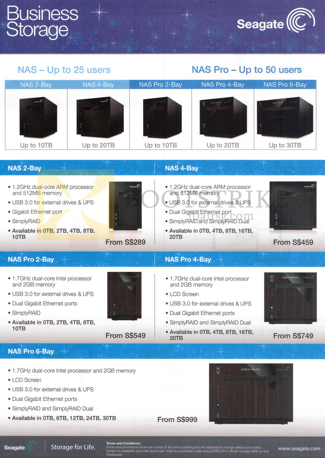 SITEX 2014 price list image brochure of Seagate Business Storage NAS 2-Bay, 4-Bay, Pro 2-Bay, Pro 4-Bay, Pro 6-Bay