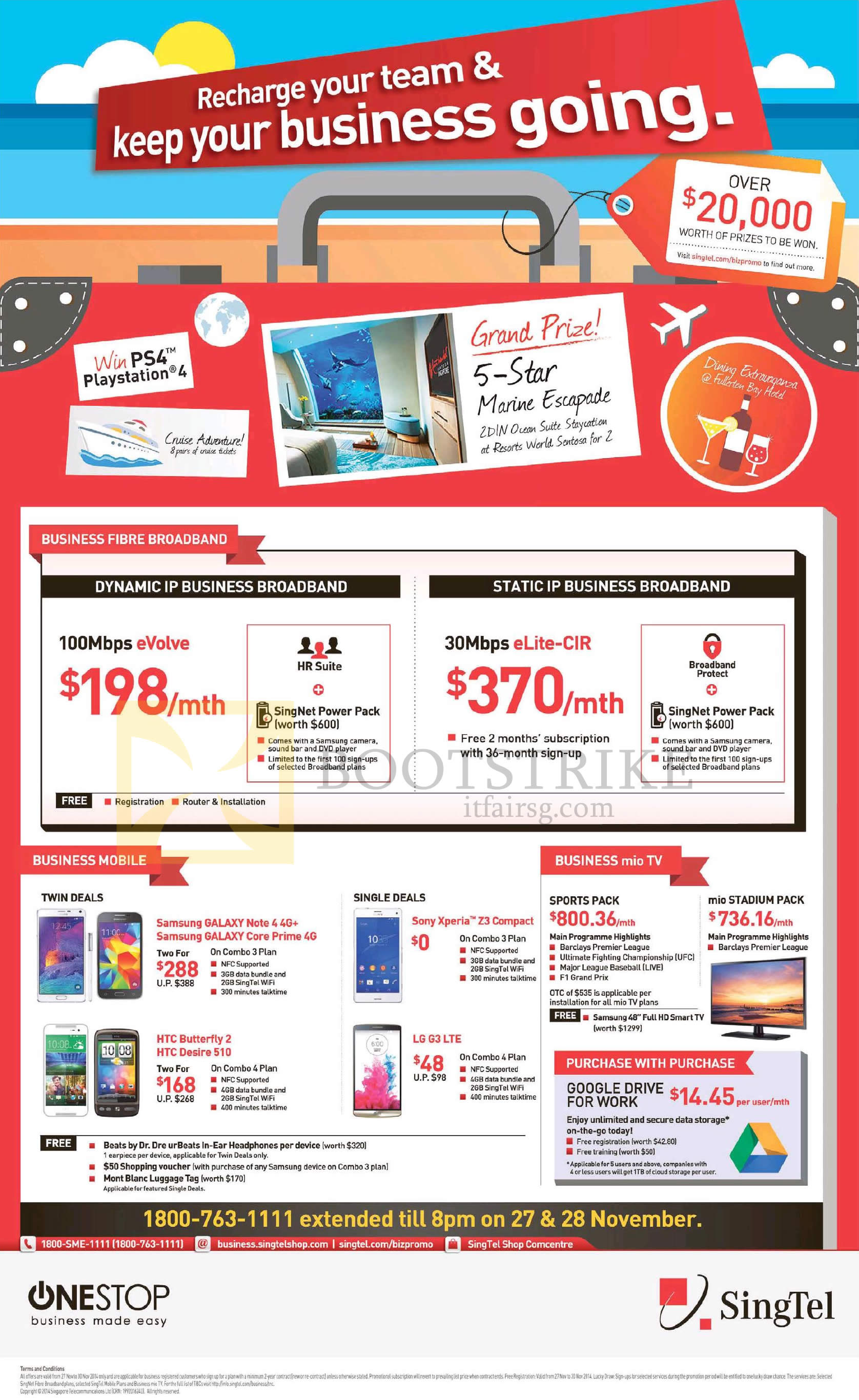 SITEX 2014 price list image brochure of Singtel Business Broadband, Mobiles, 100Mbps EVolve, 30Mbps ELite-CIR, Samsung Galaxy Note 4, Core Prime, HTC Butterfly 2, Desire 610, Sony Xperia Z3 Compact, LG G3, TV Sports Pack