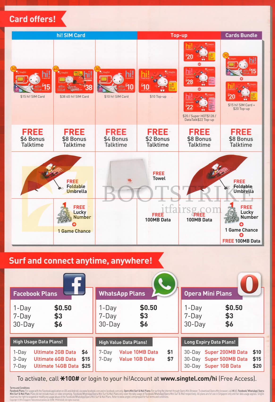 Singtel Mobile Prepaid Sim Card, Top-Up Card, Facebook, WhatsApp