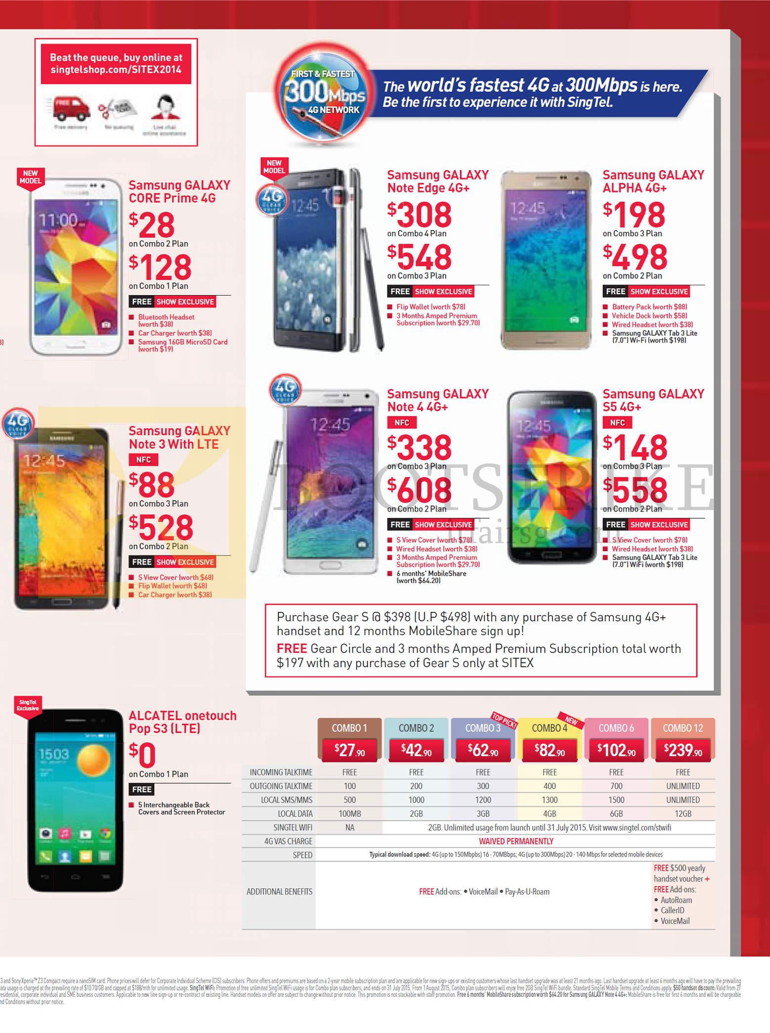 Singtel Mobile Samsung Galaxy Core Prime, Note Edge, Alpha, Note 3