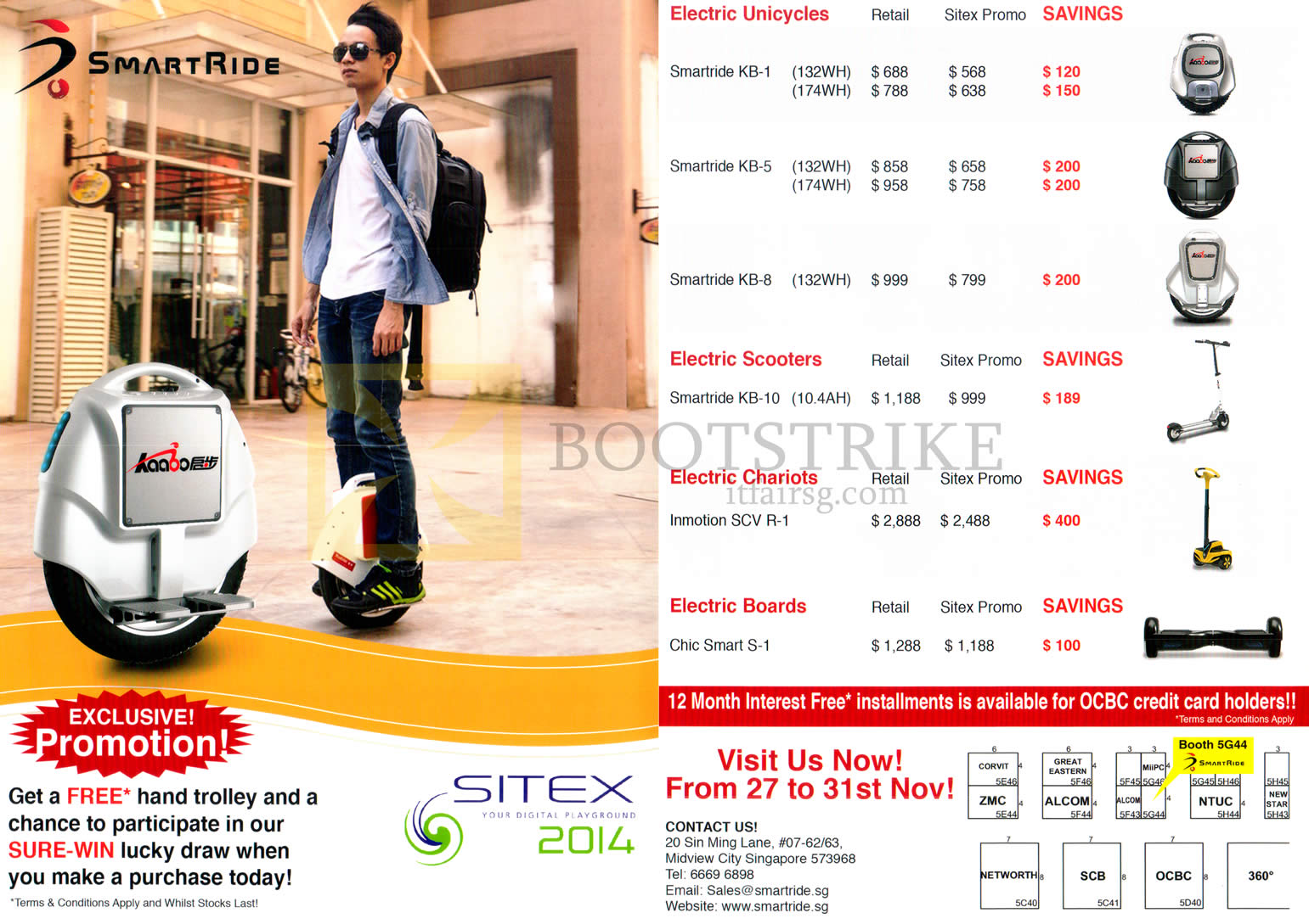 SITEX 2014 price list image brochure of Smartride Motorised Cycle, Electric Unicycles Smartride KB-1, KB-5, KB-8, KB-10, Innovation SCV R-1, Chic Smart S-1