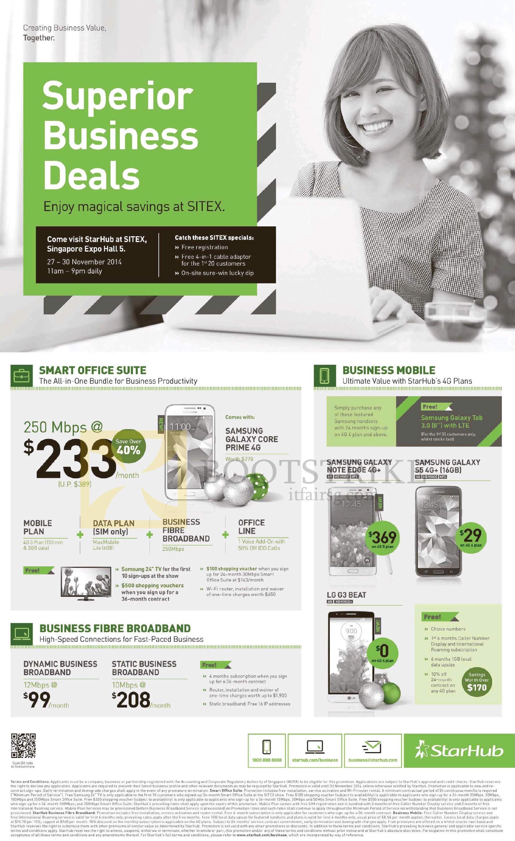 SITEX 2014 price list image brochure of Starhub Business 250Mbps, Dynamic, Static Business Broadband, Samsung Galaxy Note Edge, S5, LG G3 Beat