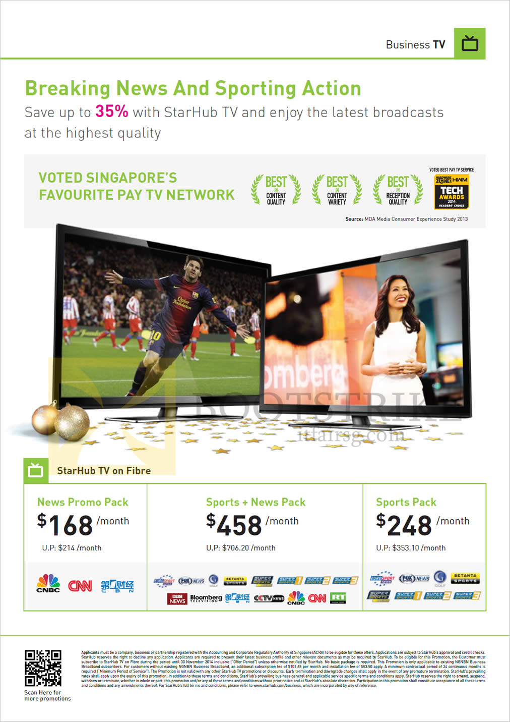 SITEX 2014 price list image brochure of Starhub Business TV On Fibre, News, Sports
