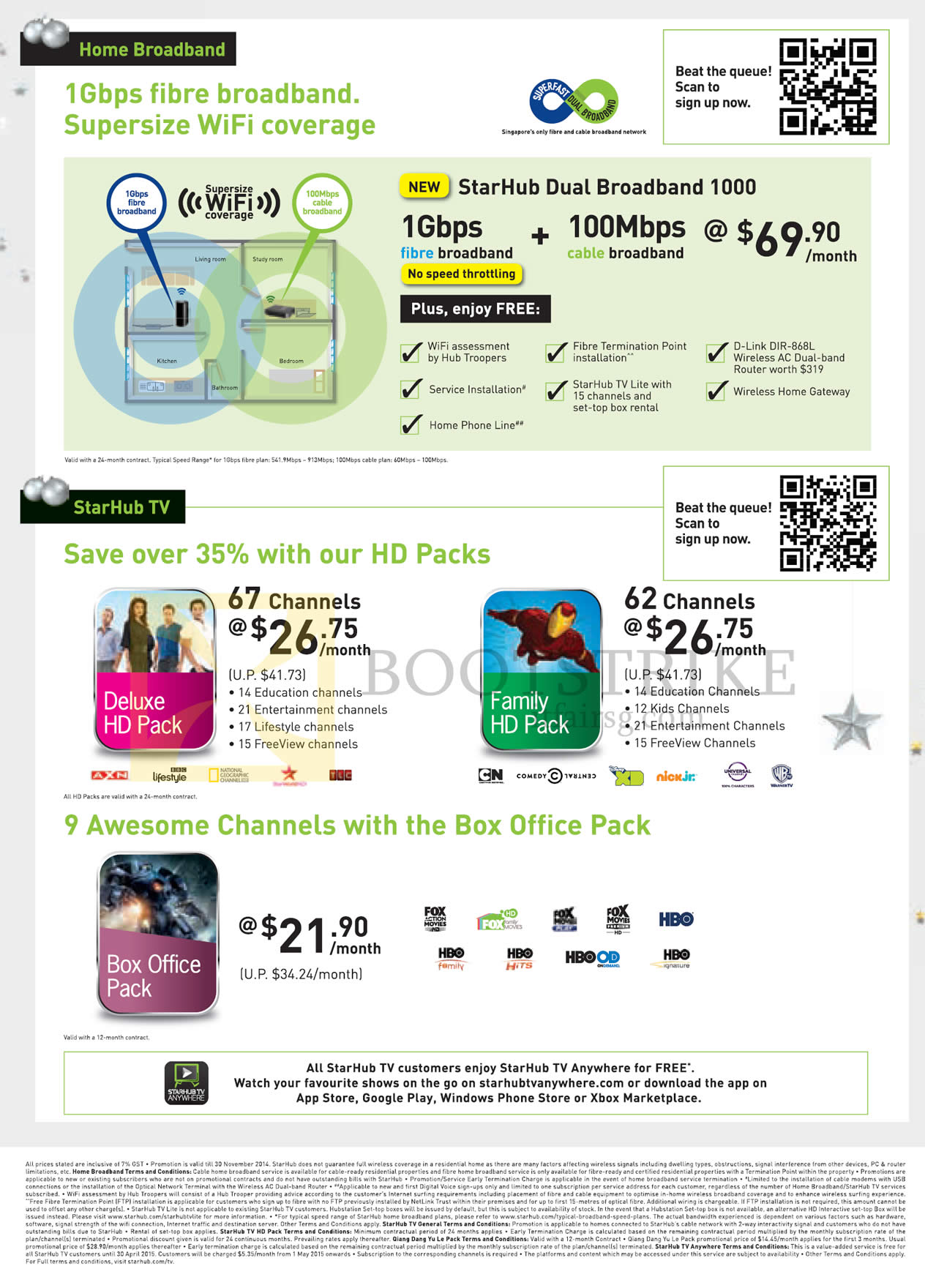 SITEX 2014 price list image brochure of Starhub Fibre Broadband 1Gbps, 100Mbps Cable, Cable TV Deluxe HD Pack, Family, Box Office