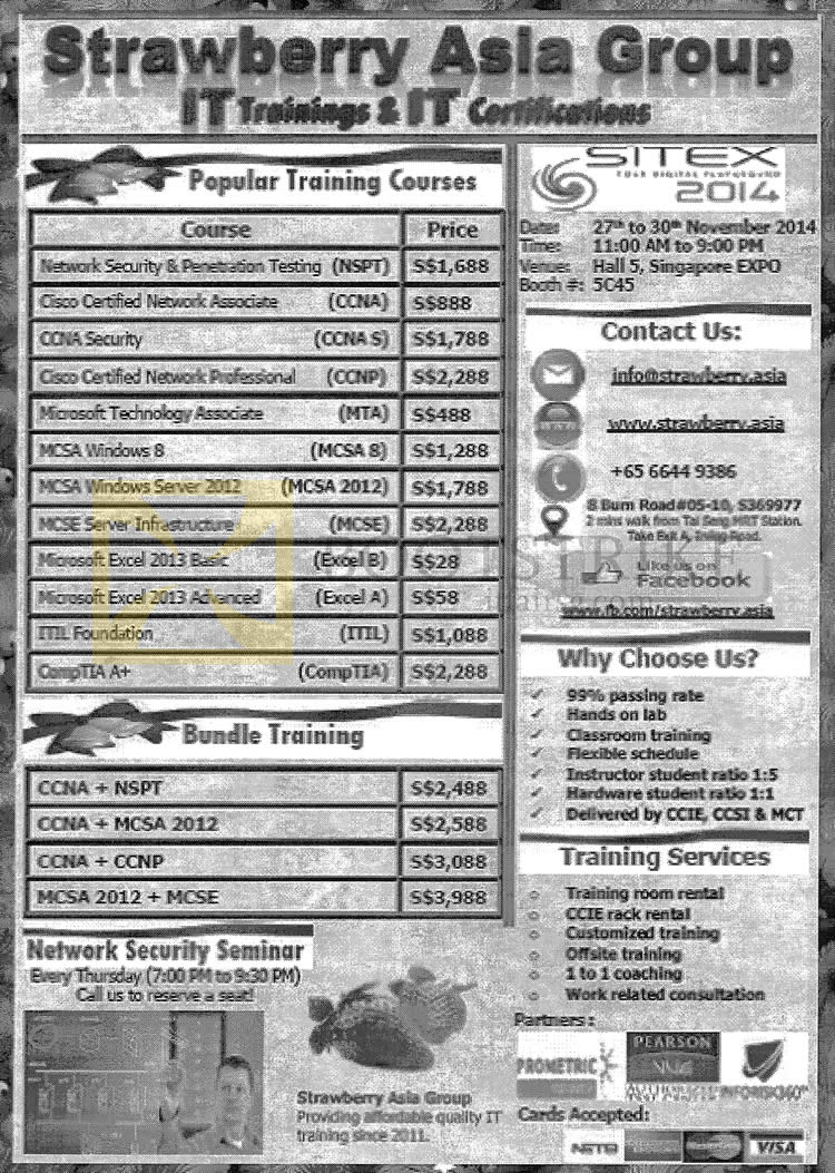 SITEX 2014 price list image brochure of Strawberry Asia Group IT Trainings, Certifications