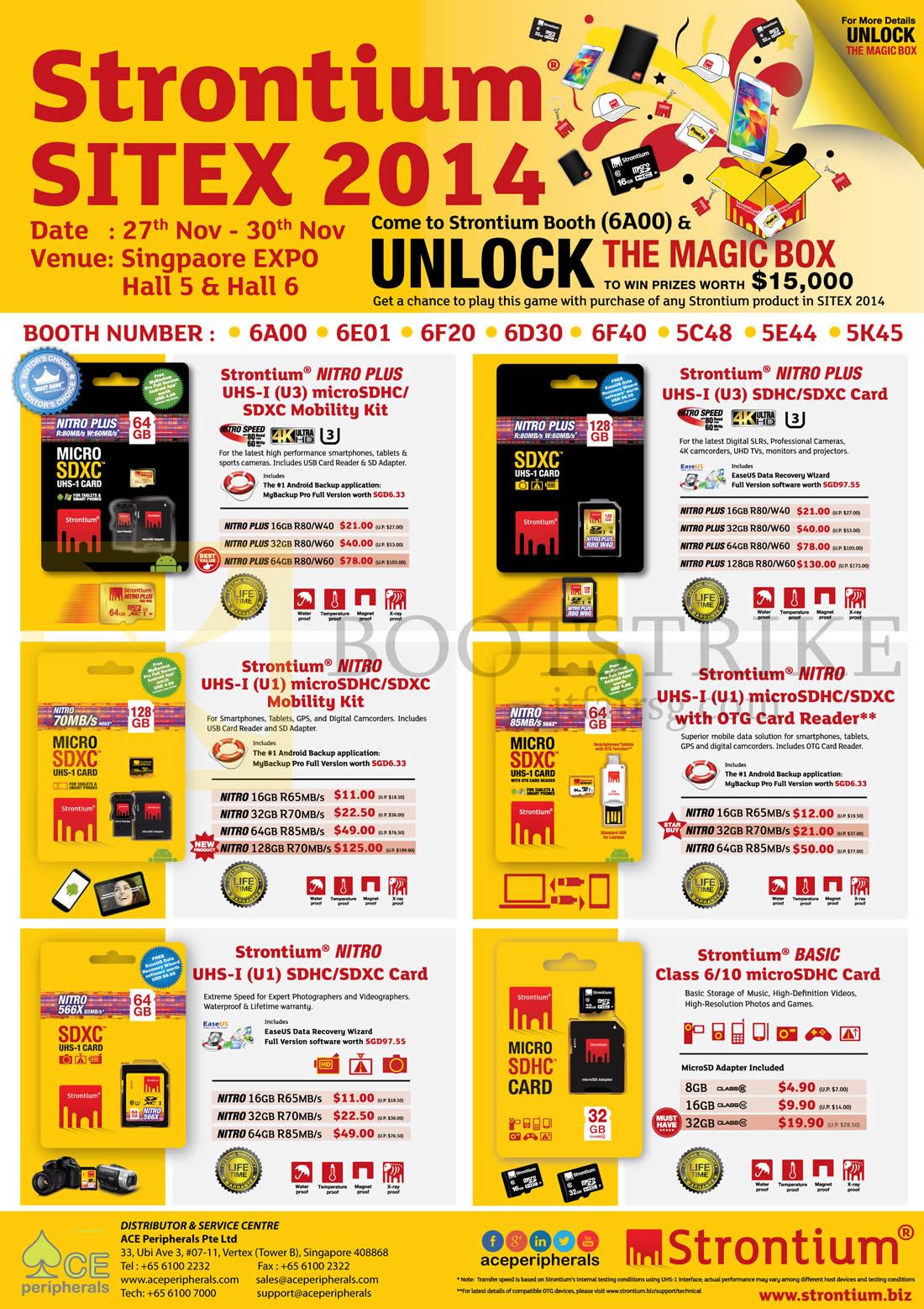 SITEX 2014 price list image brochure of Strontium Nitro Plus UHS 1, U1, U3, MicroSDHD SDXC Mobility Kit, OTG Card Reader Class 6, 10