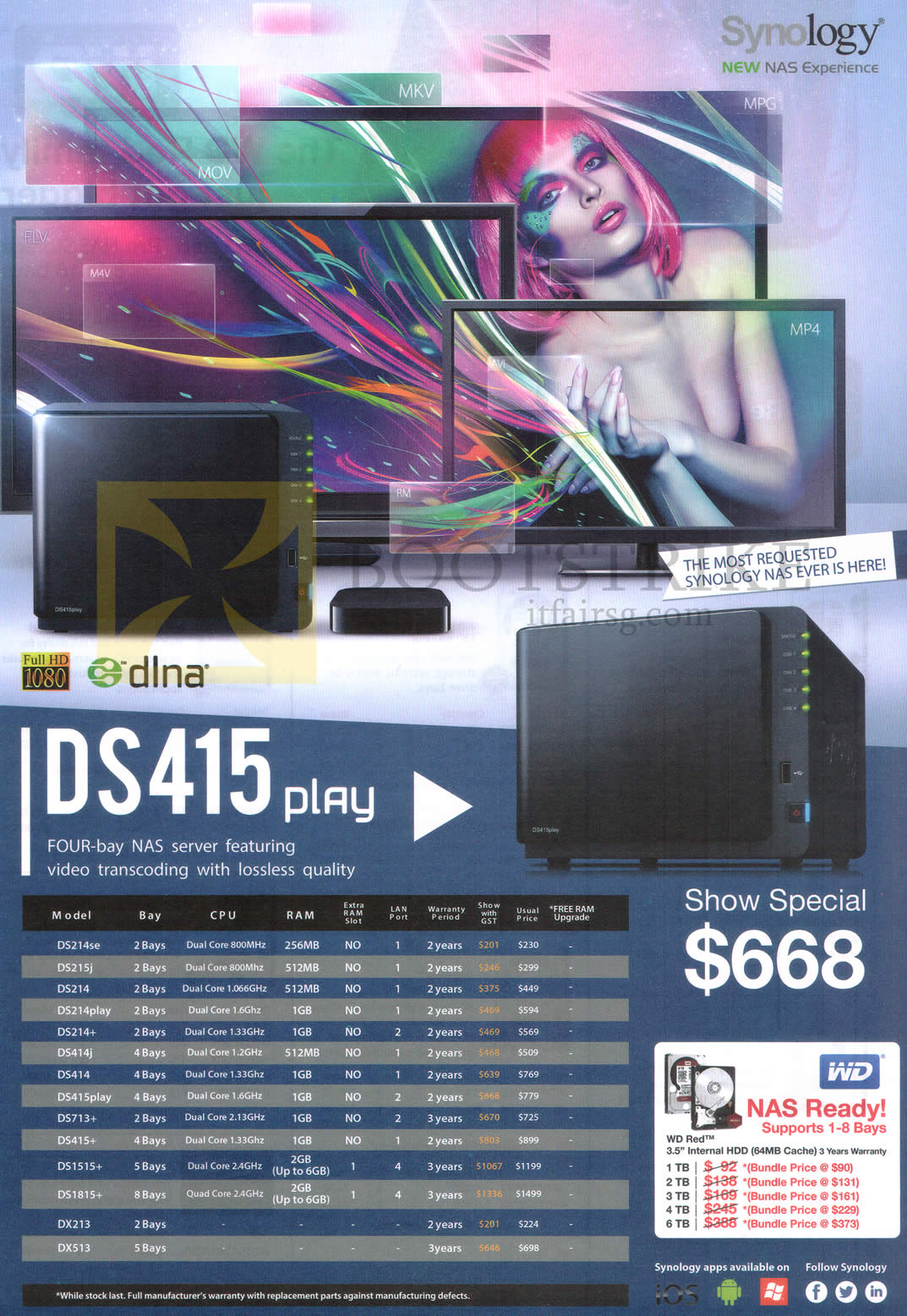 SITEX 2014 price list image brochure of Synology NAS DS415 Play