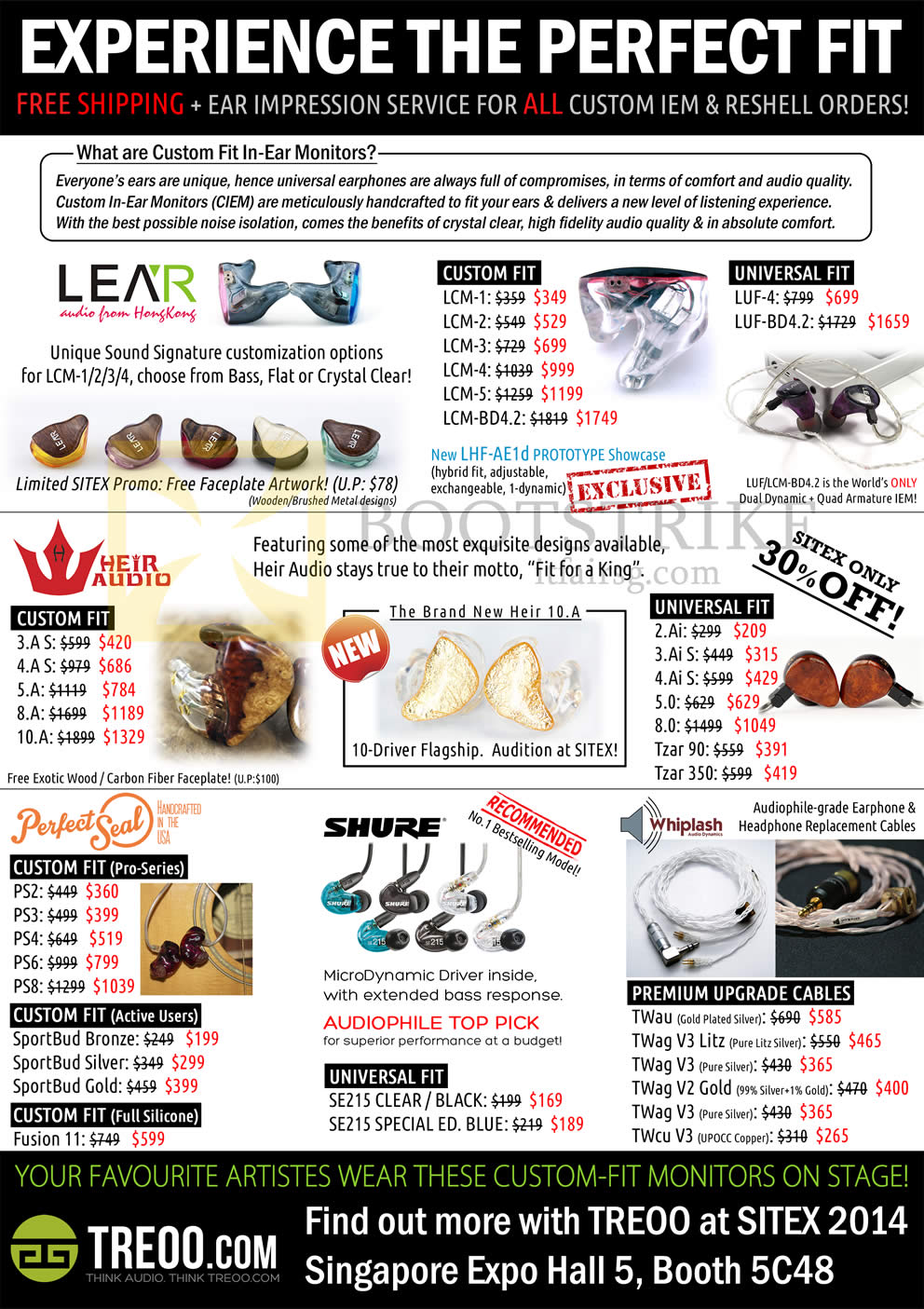 SITEX 2014 price list image brochure of Treoo Earphones, Cables, Lear, Heir Audio, Perfect Seal, Shure, Whiplash