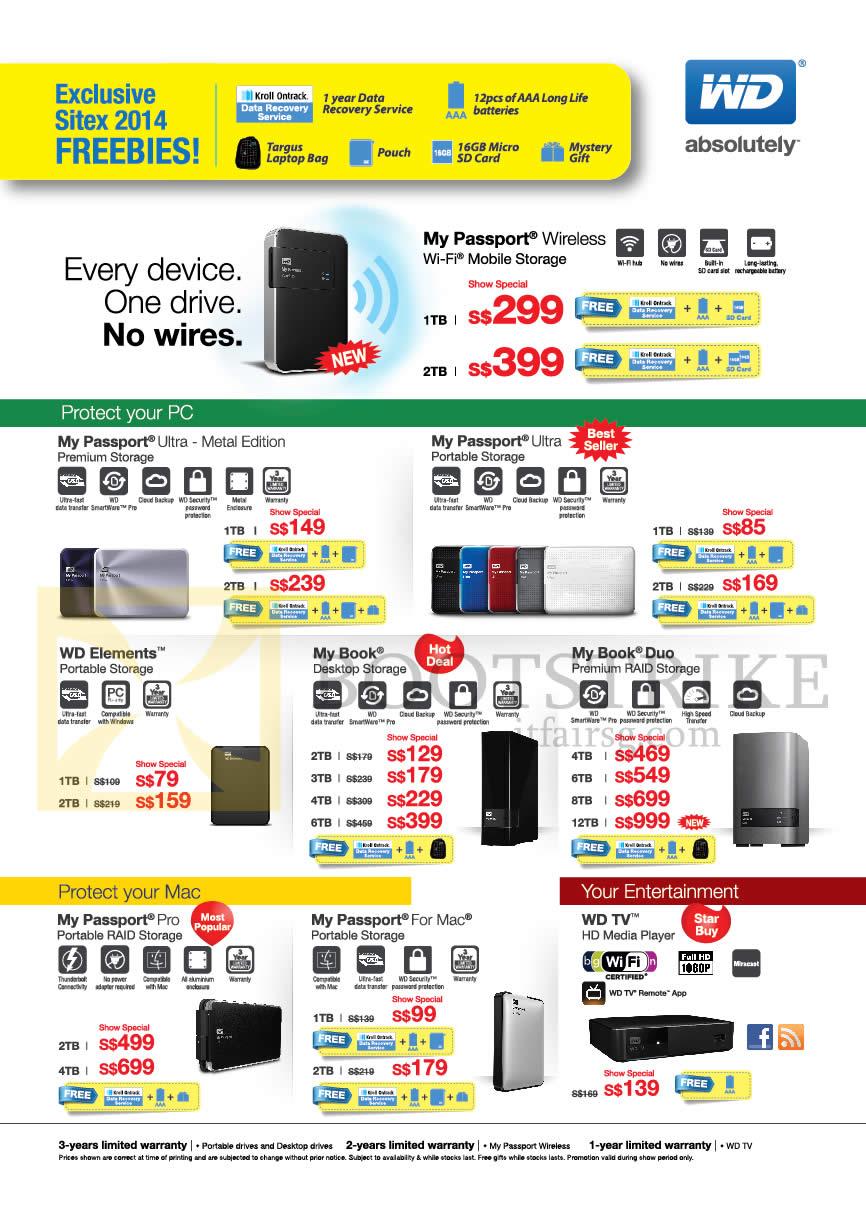 SITEX 2014 price list image brochure of Western Digital External Storage Drive My Passport Ultra, My Passport Pro, WD TV, My Passport For Mac, My Book, My Book Duo