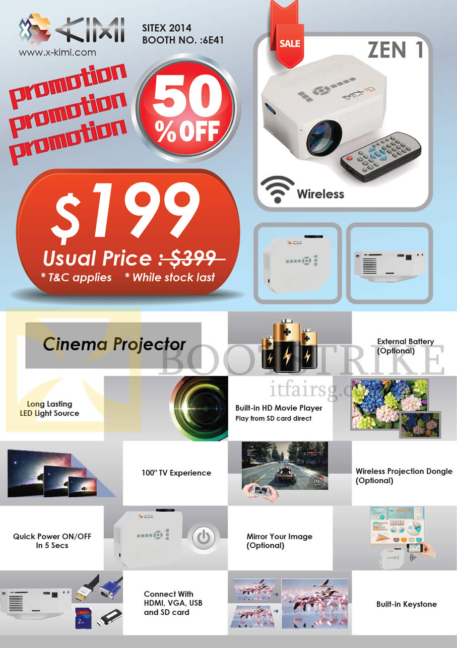 SITEX 2014 price list image brochure of X-Kimi Cinema Projector