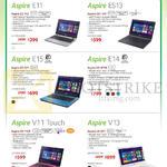 Notebooks Aspire E11 E3-112, ES13 ES1-311, E15 E5-571, E14 E5-471G, V11 Touch V3-112P, V13 V3-371