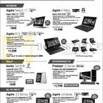 Notebooks, Tablets, Desktop PC, AIO Desktop PCs Aspire Switch 11, V Nitro, R13, Z3, U5, Iconia Tab 8 W, Predator G