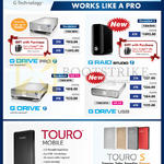 HGST External Drives G Drive Pro, G Raid Studio, USB, Touro Mobile, Touro S