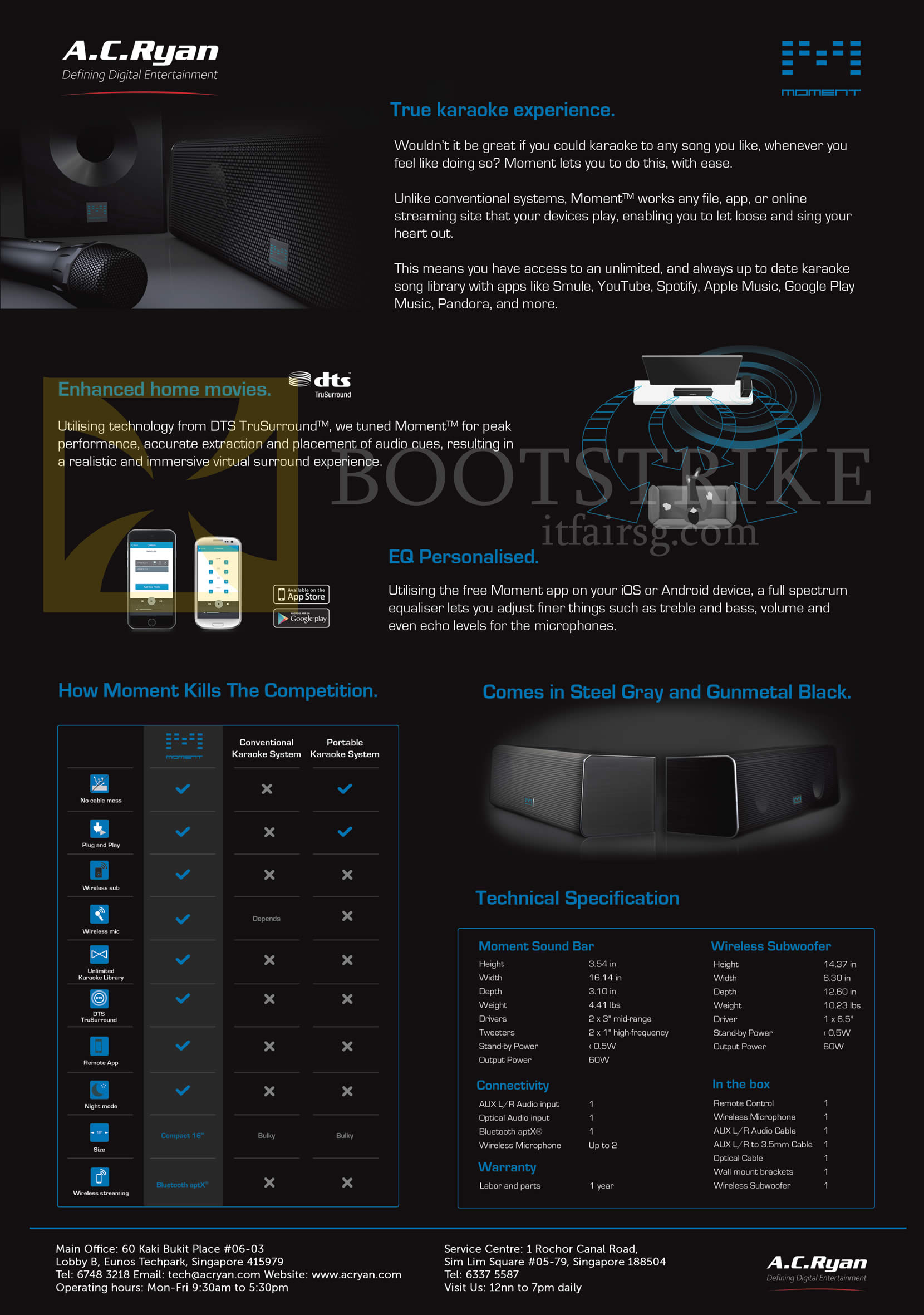 SITEX 2015 price list image brochure of AC Ryan Moment SoundBar Features, Wireless Subwoofer