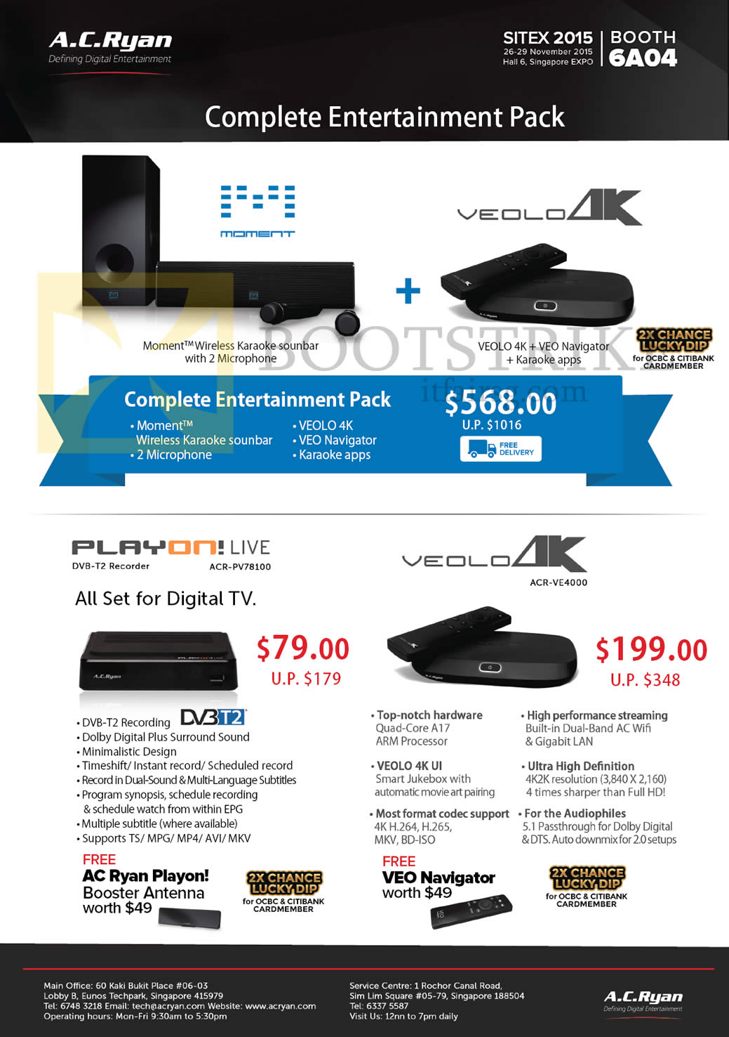 SITEX 2015 price list image brochure of AC Ryan Moment Wireless Karaoke Soundbar, Veolo Navigator, Playon Live DVB-T2 Recorder ACR-PV78100, Veolo 4K ACR-VE4000