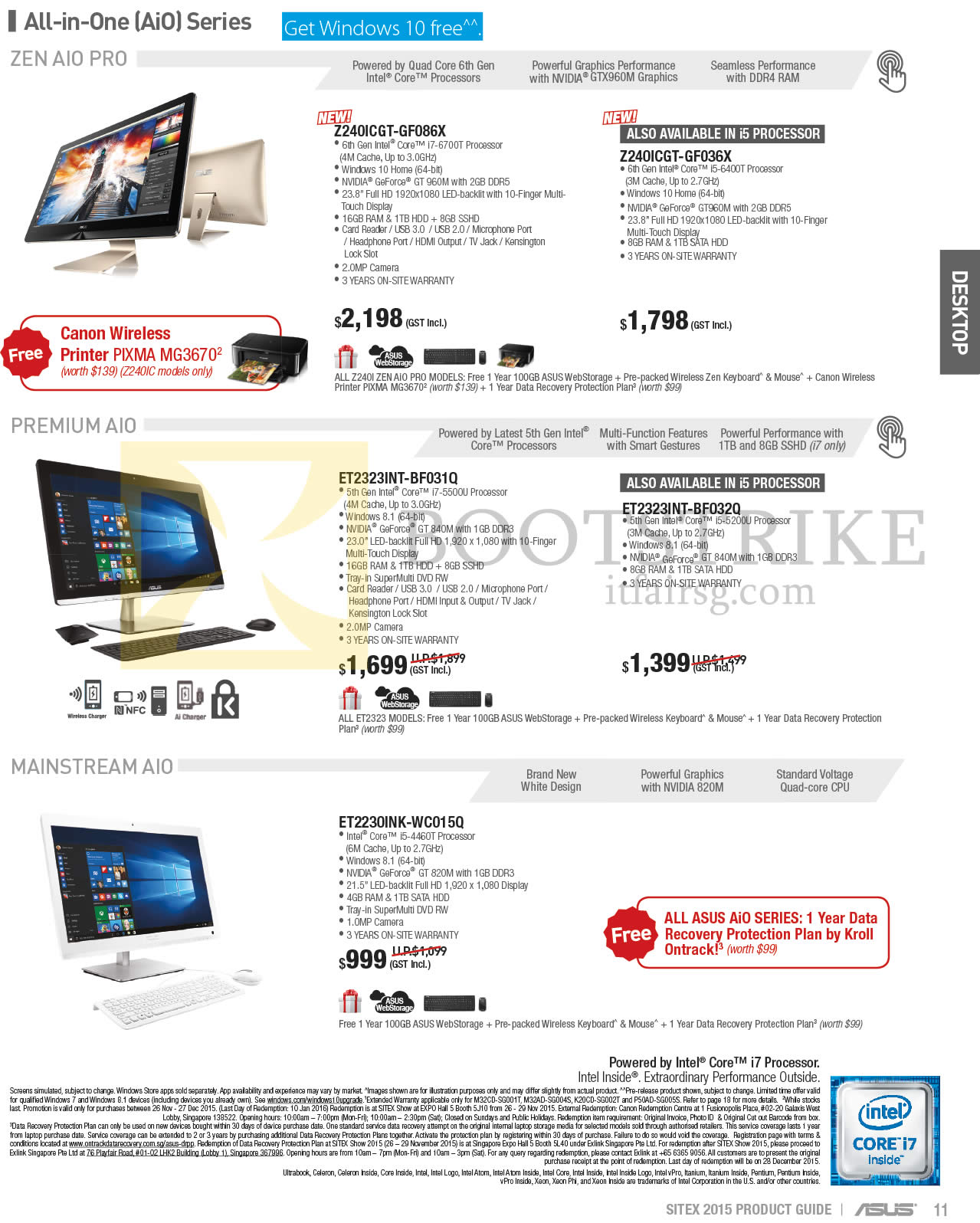 SITEX 2015 price list image brochure of ASUS AIO Desktop PCs Z240ICGT-GF086X, Z240ICGT-GF036X, ET2323INT-BF031Q, ET2323INT-BF032Q, ET2230INK-WC015Q