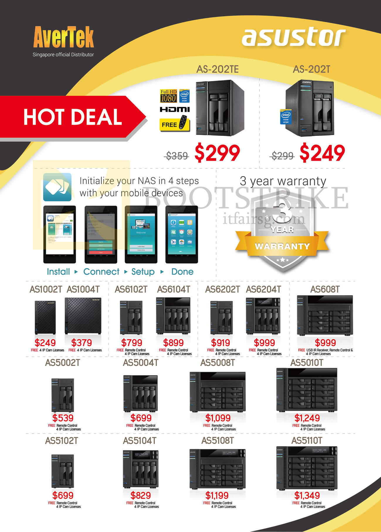 SITEX 2015 price list image brochure of ASUS ASUStor NAS AS-202TE, 202T, 1002T, 1004T, 6102T, 6104T, 6202T, 6204T, 608T, 5002T, 5004T, 5008T, 5010T, 5102T, 5104T, 5108T, 5110T