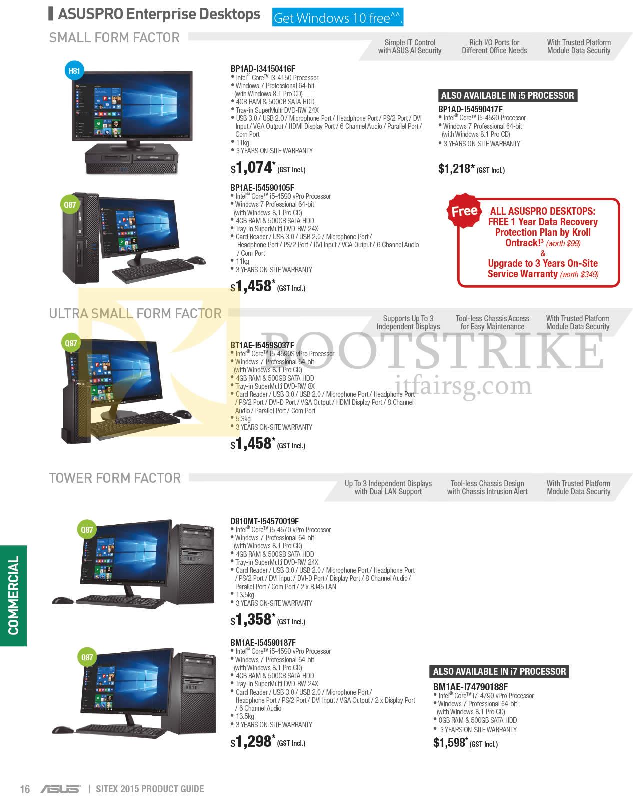 SITEX 2015 price list image brochure of ASUS Desktop PCs, BP1AD-134150416F, BP1AE-I54590105F, BP1AD-154590417F, BT1AE-I5459S037F, D810MT-I54570019F, BM1AE-I54590187F, BM1AE-174790188F