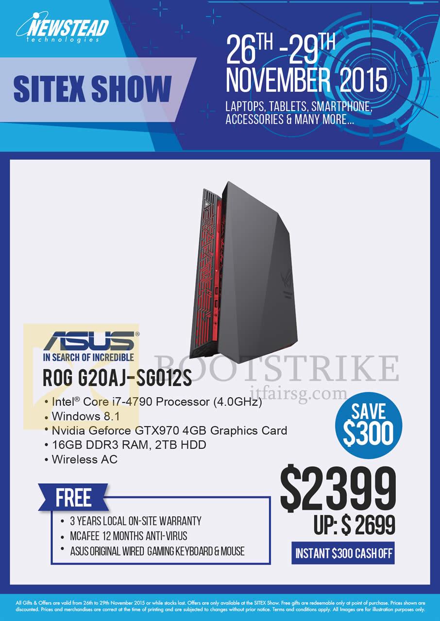 SITEX 2015 price list image brochure of ASUS Newstead Desktop PC ROG G20AJ-SG012S