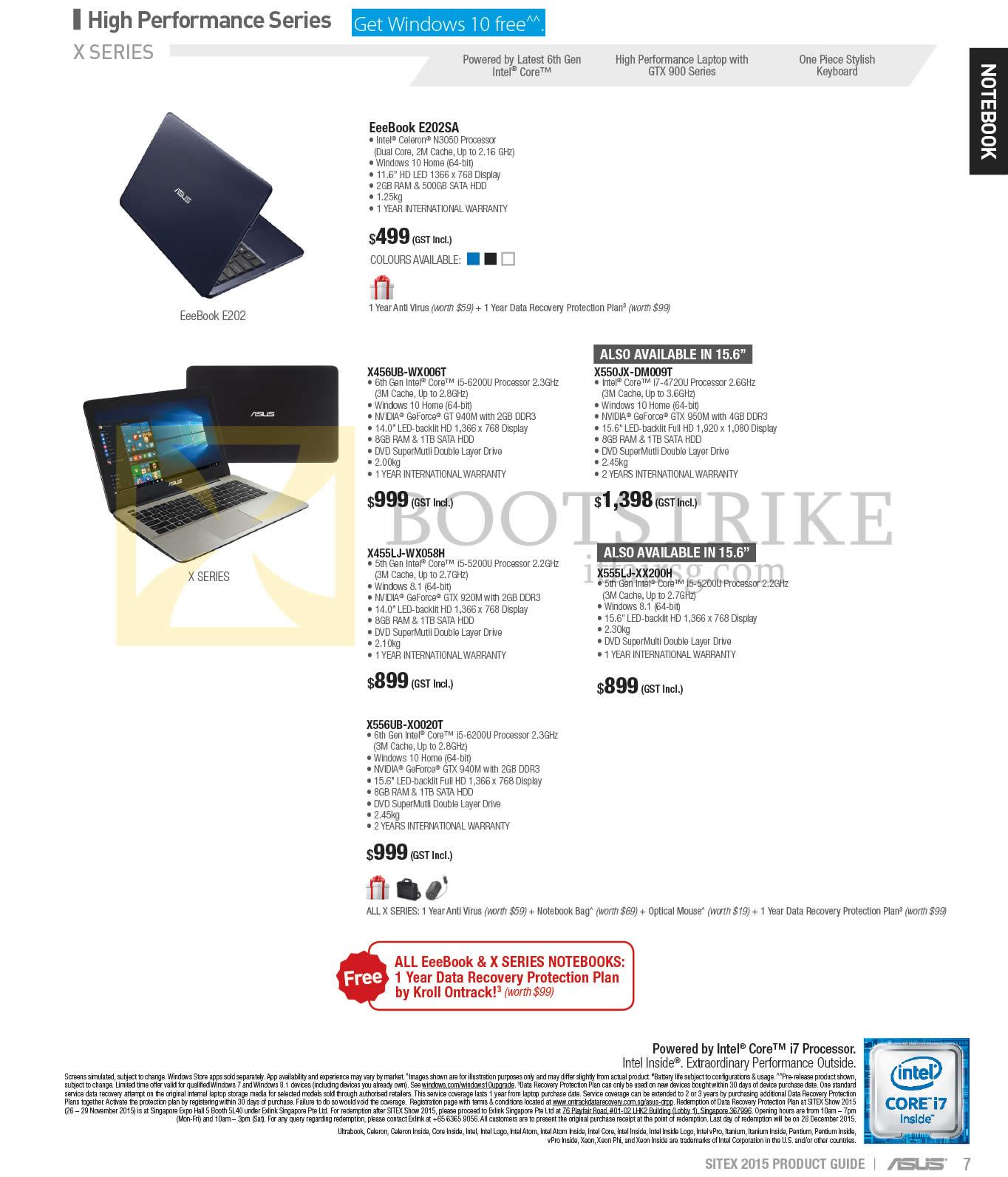 SITEX 2015 price list image brochure of ASUS Notebooks X Series EeeBook E202SA, X456UB-WX006T, X550JX-DM009T, X455LJ-WX058H, X555LJ-XX200H, X556UB-X0020T