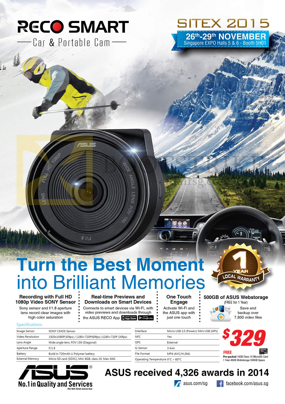 SITEX 2015 price list image brochure of ASUS Reco Smart Car Portable Video Cam