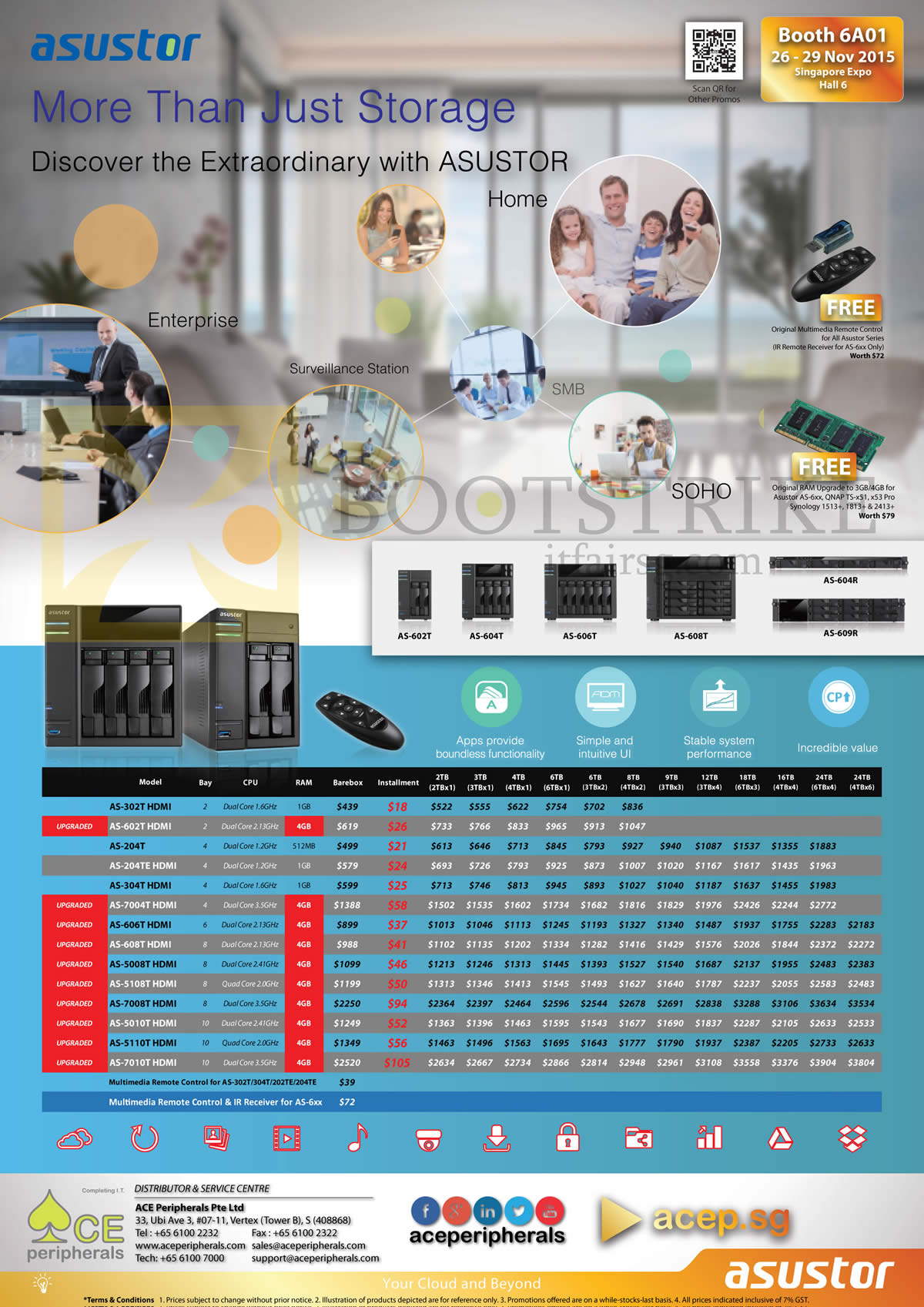 SITEX 2015 price list image brochure of Ace Peripherals Asustor NAS AS 202T AS 202TE AS 204T AS 204TE AS 302T AS 304T AS 602T AS 604T AS 606T AS 608T AS 7004T AS 7008T AS 7010T