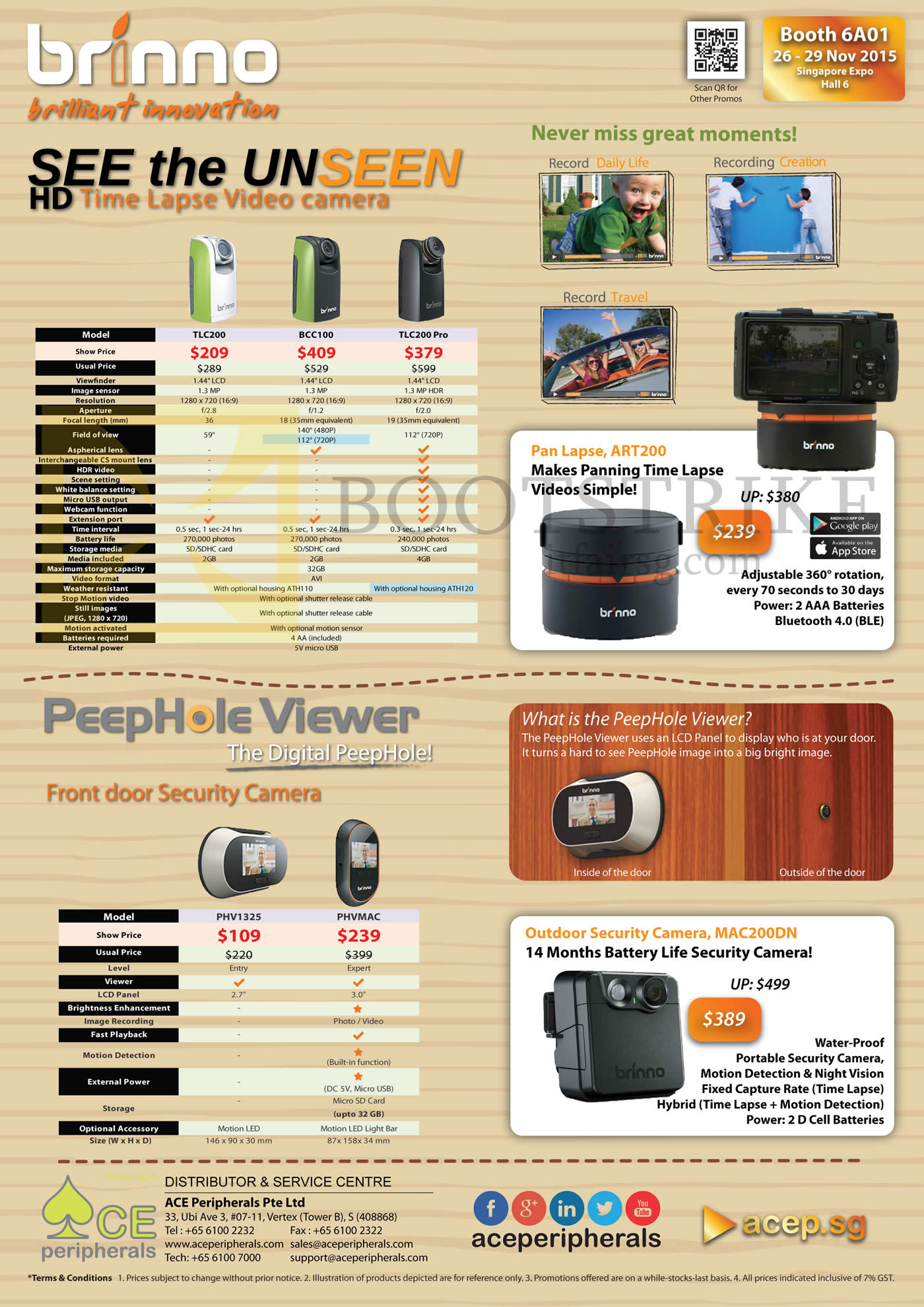 SITEX 2015 price list image brochure of Ace Peripherals Brinno Time Lapse Video Camera TLC200 TLC200Pro BCC100 MAC200DN PHV1325 PHVMAC R2
