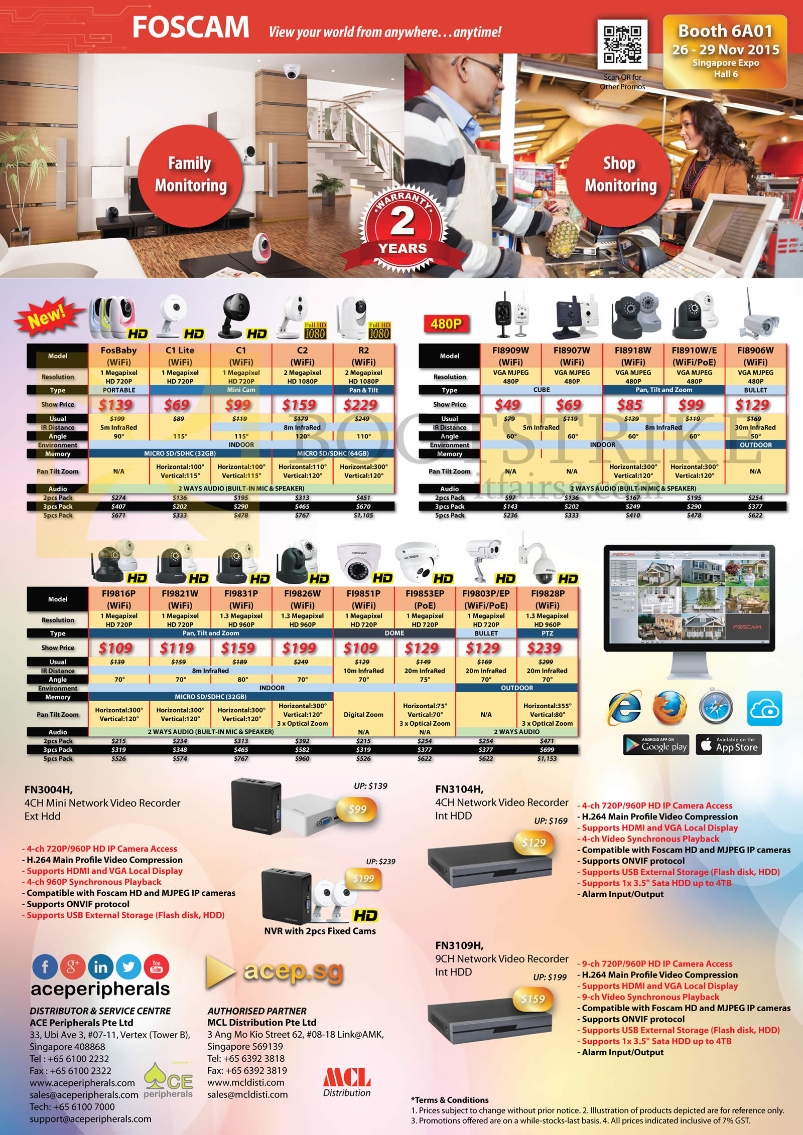 SITEX 2015 price list image brochure of Ace Peripherals Cameras Family Monitoring, Shop Monitoring Foscam Stand Alone Network IP POE WiFi Camera Home SME Corp Large Enterprise