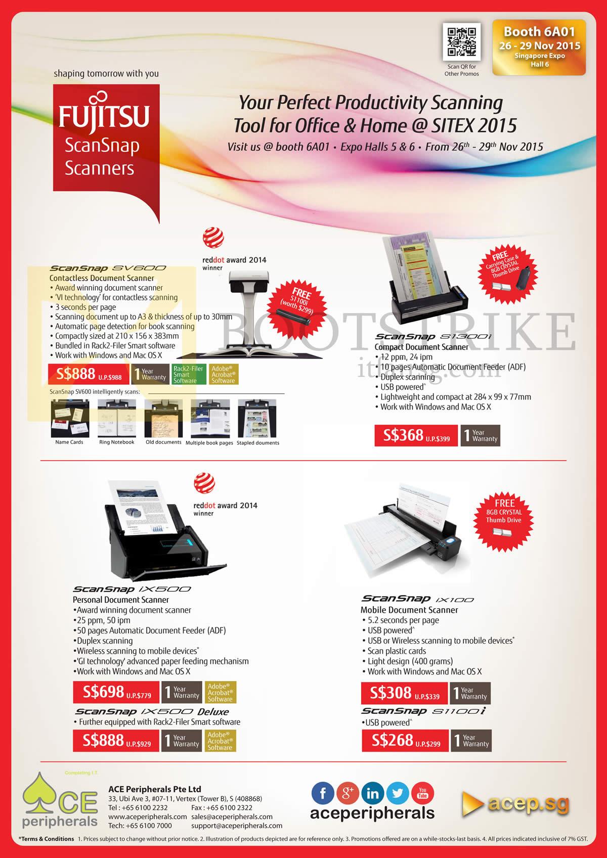 SITEX 2015 price list image brochure of Ace Peripherals Fujitsu ScanSnap Scanners IX100 SV600 IX500 S1300i