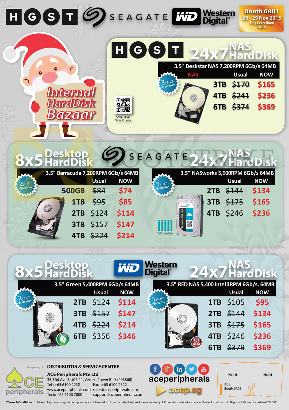 SITEX 2015 price list image brochure of Ace Peripherals Internal Desktop HDD NAS, Seagate Barracuda NASworks, Western Digital, HGST Deskstar