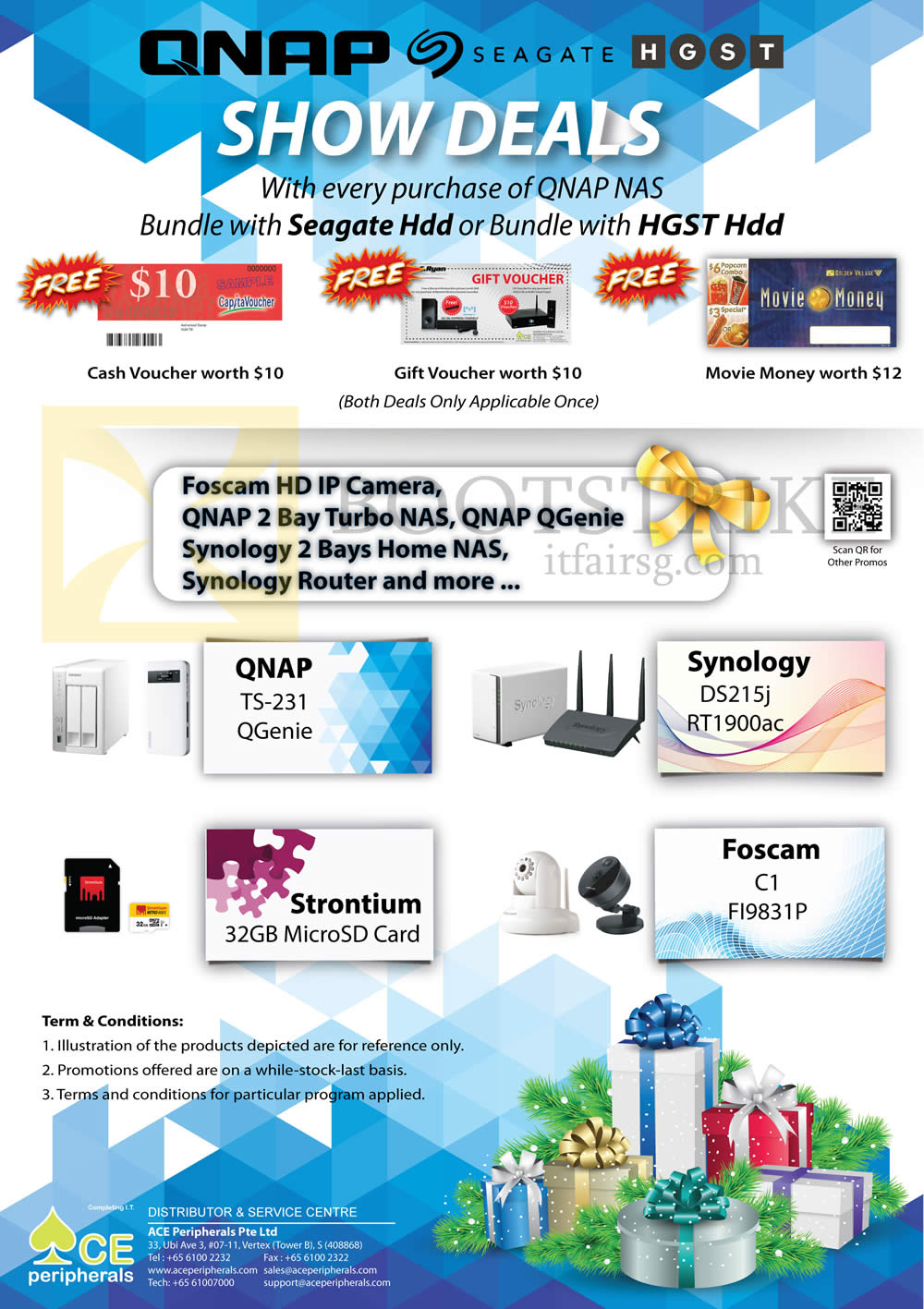 SITEX 2015 price list image brochure of Ace Peripherals Lucky Draw Foscam QNAP Strontium Synology Promo