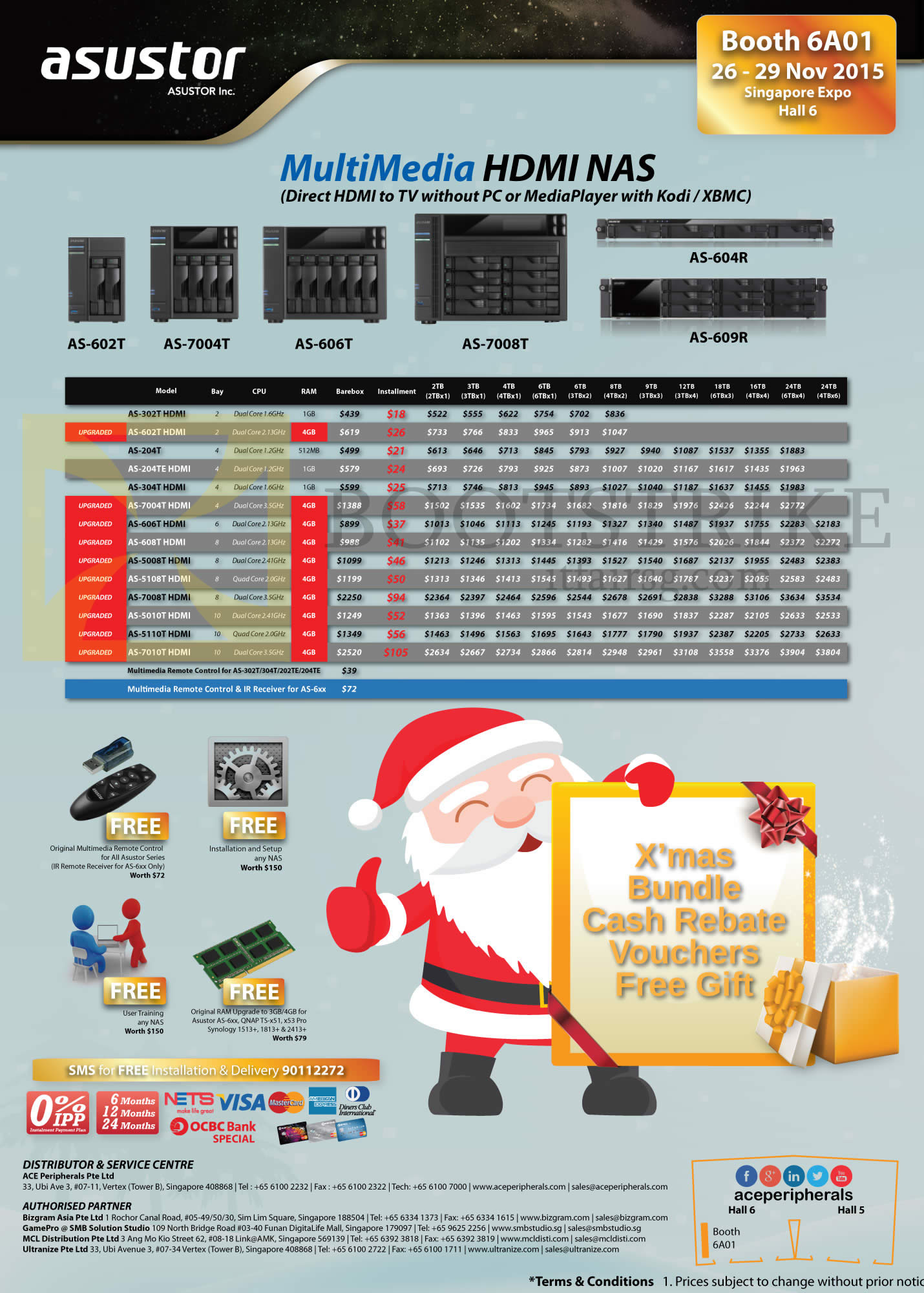 SITEX 2015 price list image brochure of Ace Peripherals NAS Asustor