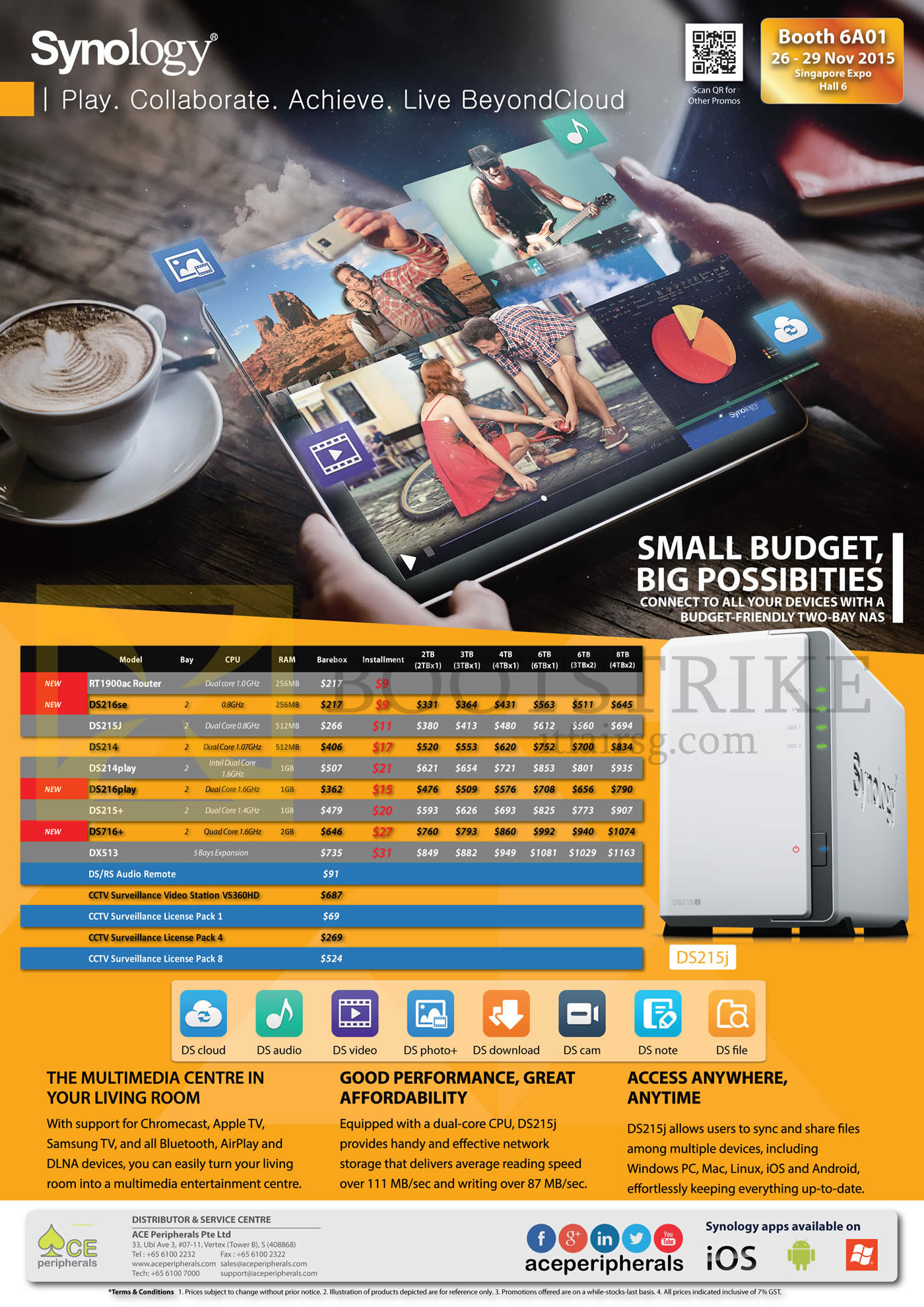 SITEX 2015 price list image brochure of Ace Peripherals Synology NAS DS115 DS115J DS216se DS215J DS214Plus DS214 DS214play DS216play DS716Plus CCTV License